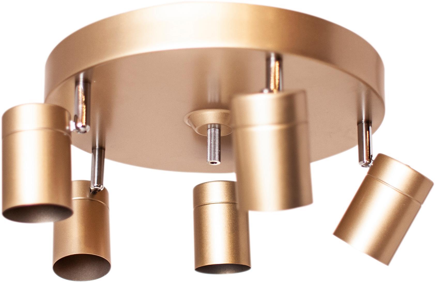 Deckenstrahler Correct, Gestell: Metall, beschichtet, Baldachin: Metall, beschichtet, Goldfarben, Ø 30 x H 14 cm