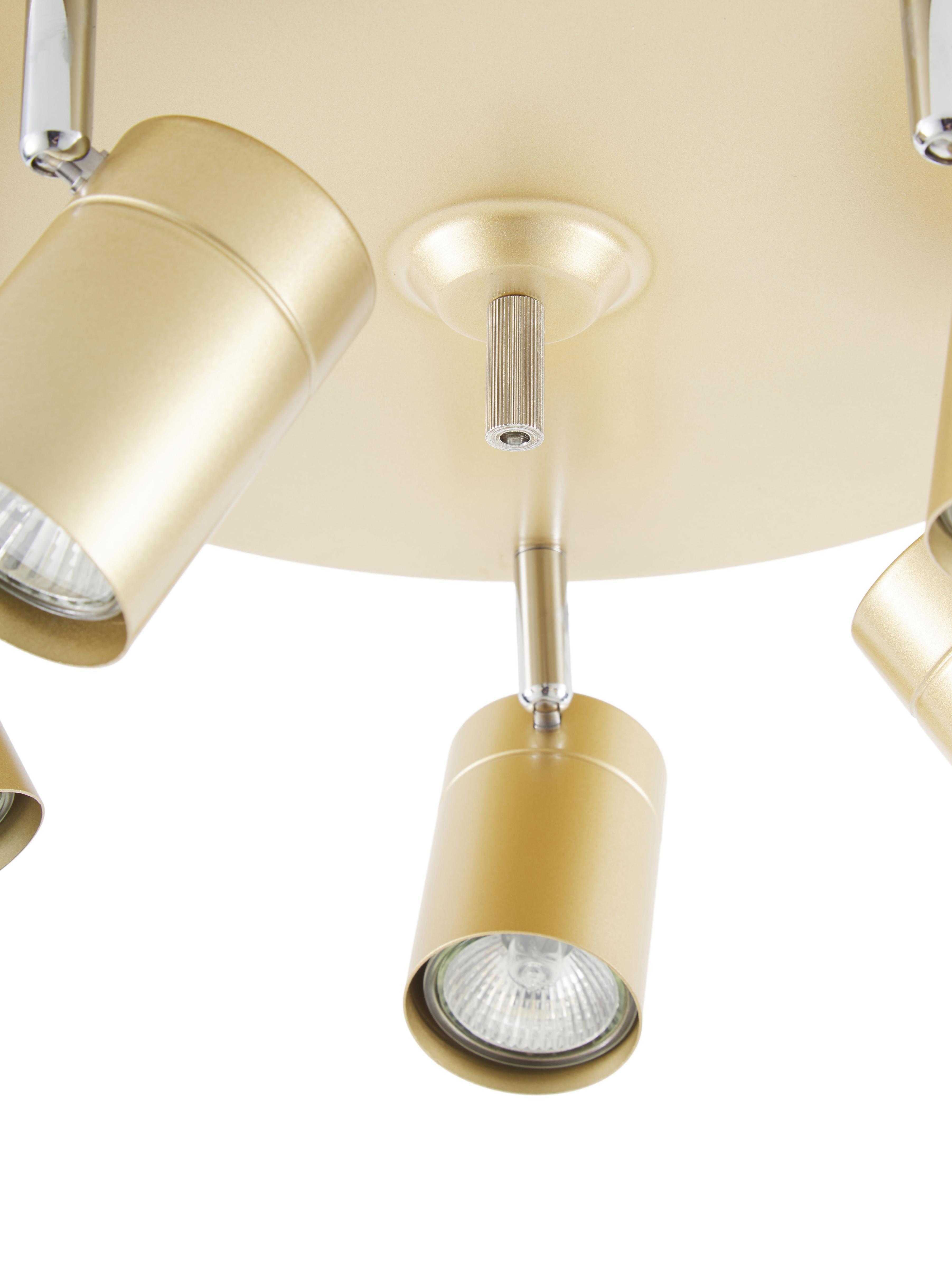Plafondspot Correct, Frame: gecoat metaal, Baldakijn: gecoat metaal, Goudkleurig, Ø 30 x H 14 cm