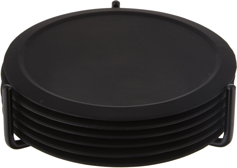 Silikon Untersetzer-Set Plain, 7-tlg., Untersetzer: Rutschfestes Silikon, Halterung: Metall, Schwarz, Ø 10 cm
