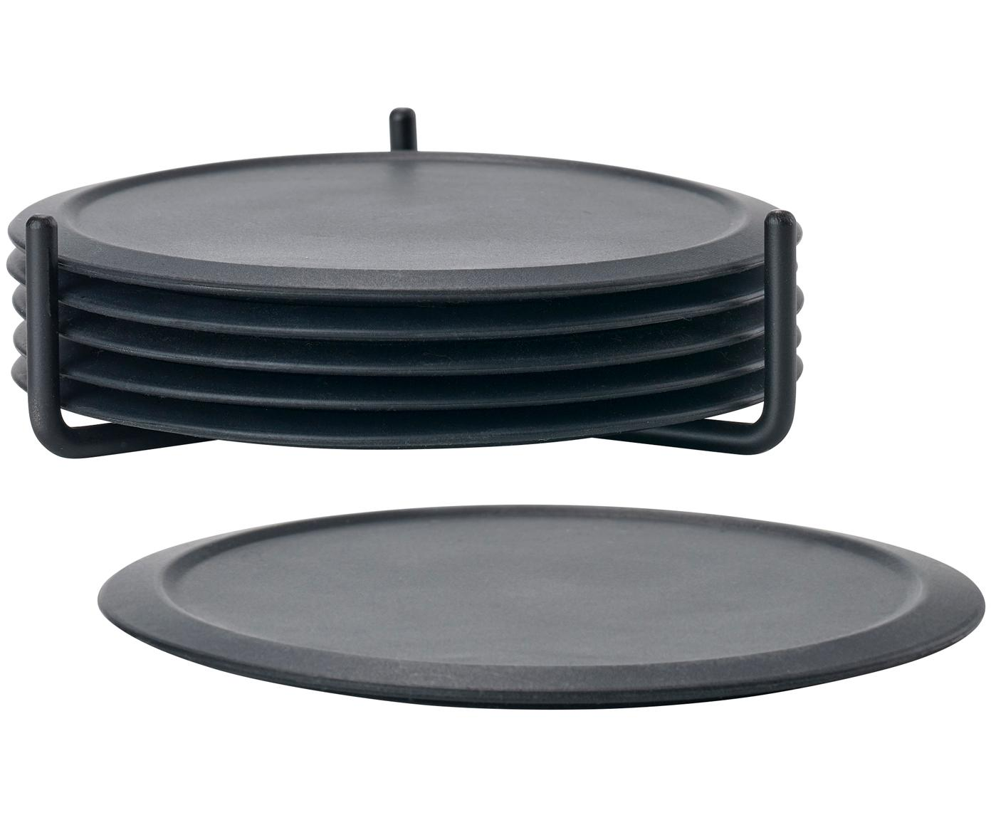 Komplet podstawek z silikonu Plain, 7 elem., Czarny, Ø 10 cm