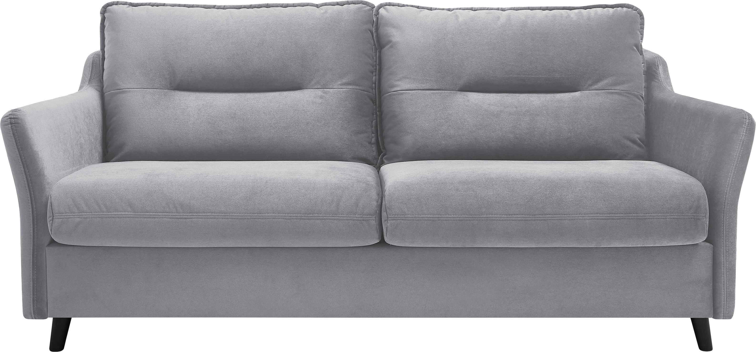 Sofa rozkładana z aksamitu Loft (3-osobowa), Tapicerka: 100% aksamit poliestrowy, Nogi: metal lakierowany, Jasny szary, S 191 x G 100 cm