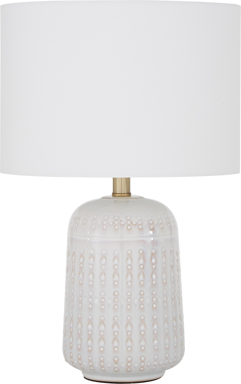 Lampada da tavolo in ceramica Iva, Paralume: tessuto, Base della lampada: ceramica, metallo ottonat, Paralume: bianco Base della lampada: bianco crema, ottone, Ø 33 x Alt. 53 cm