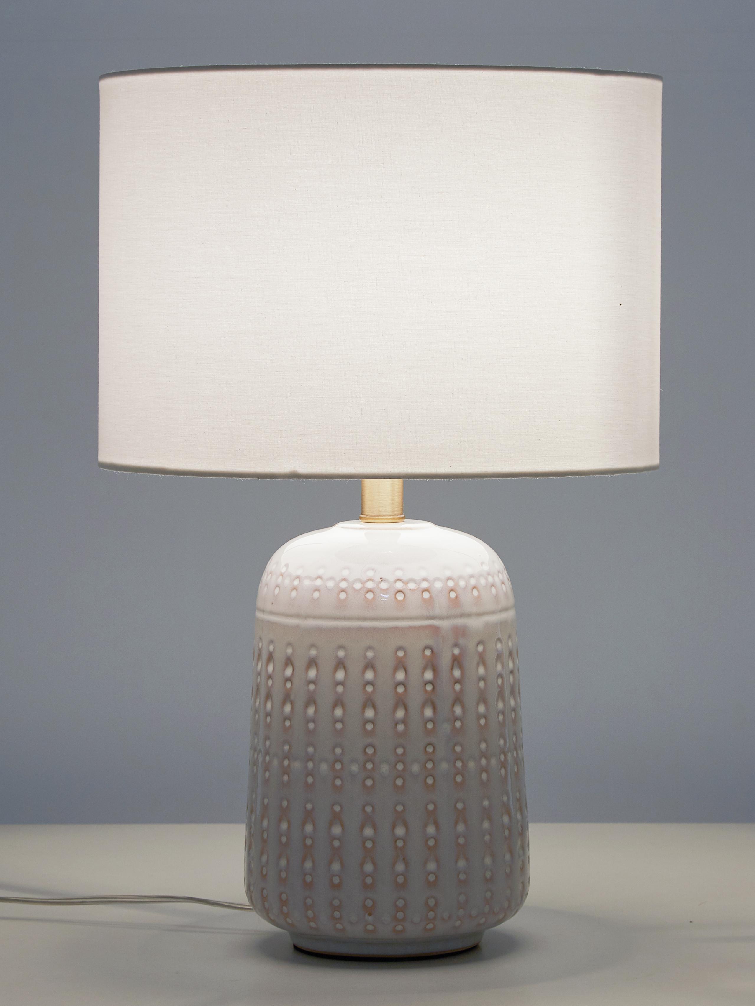 Lámpara de mesa Iva, Pantalla: tela, Cable: plástico, Blanco, latón, Ø 33 x Al 53 cm