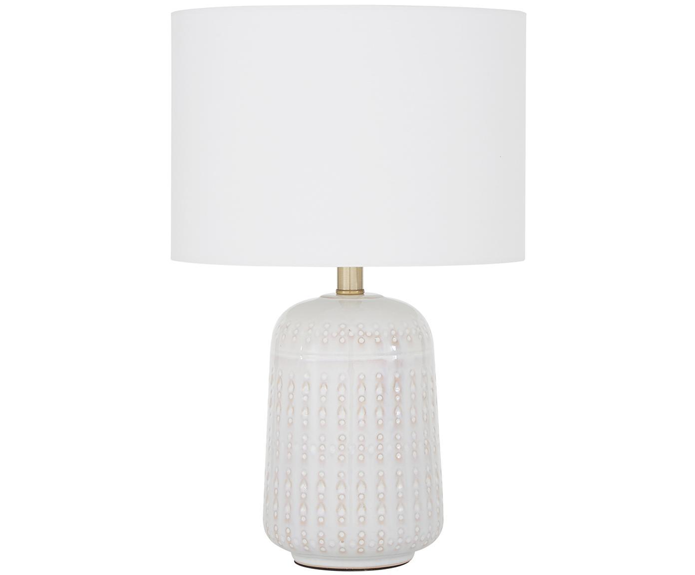 Keramische tafellamp Iva, Lampenkap: textiel, Lampvoet: keramiek, vermessingd met, Lampenkap: witte lampvoet: crèmewit, messing, Ø 33 x H 53 cm