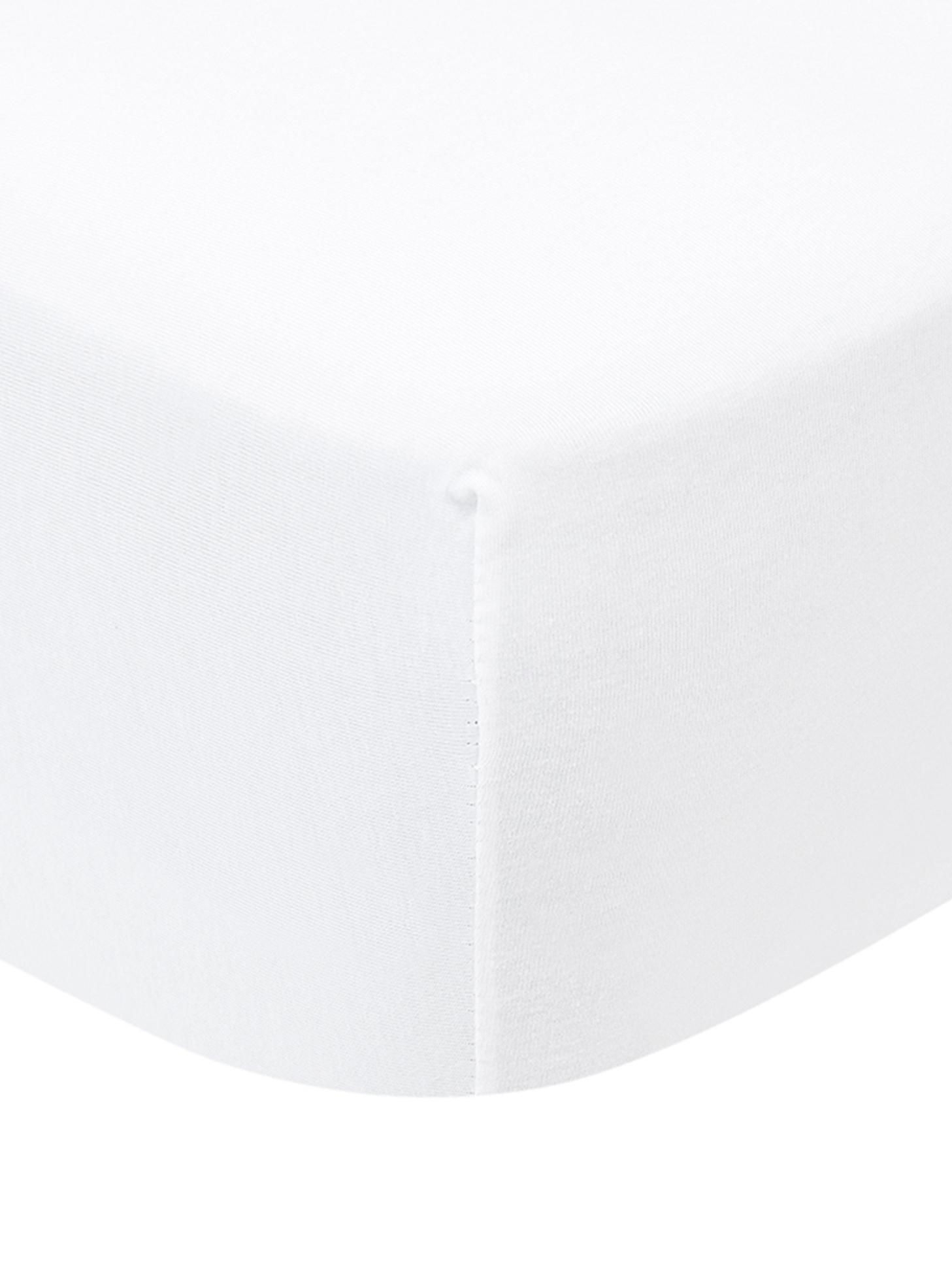 Topper-Spannbettlaken Lara, Jersey-Elasthan, 95% Baumwolle, 5% Elasthan, Weiß, 140 x 200 cm