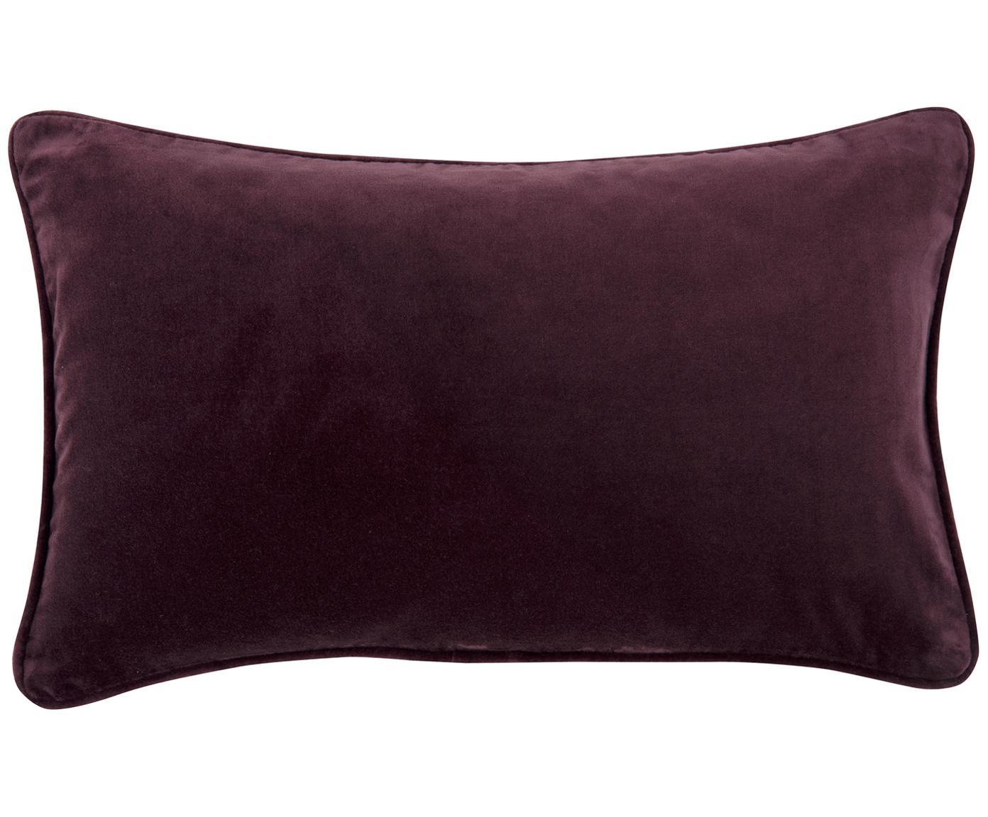 Einfarbige Samt-Kissenhülle Dana in Aubergine, 100% Baumwollsamt, Aubergine, 30 x 50 cm