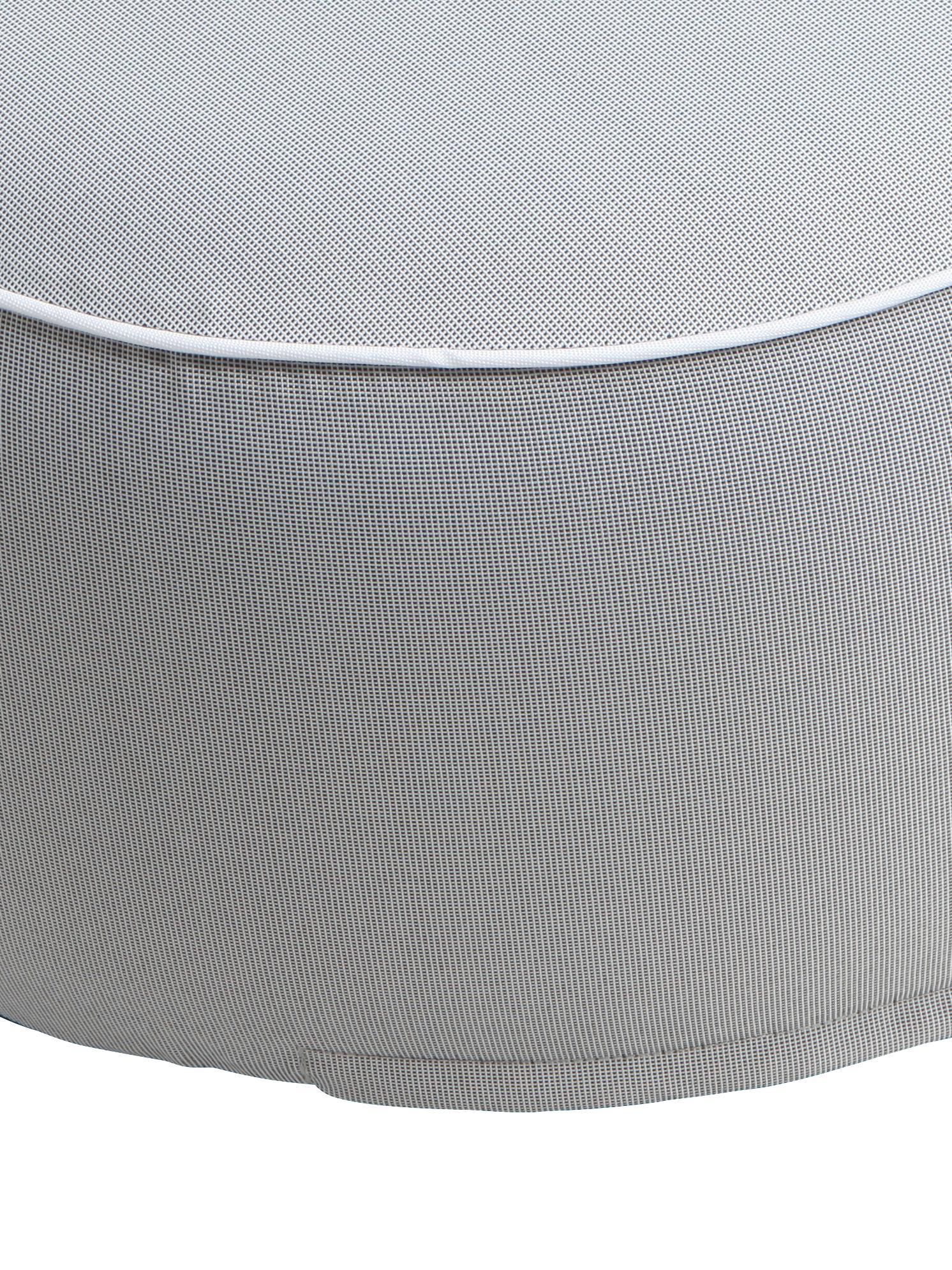 Aufblasbarer Pouf Maxime, Bezug: Polyester, UV-beständig, Hellgrau, Schwarz, Ø 55 x H 25 cm