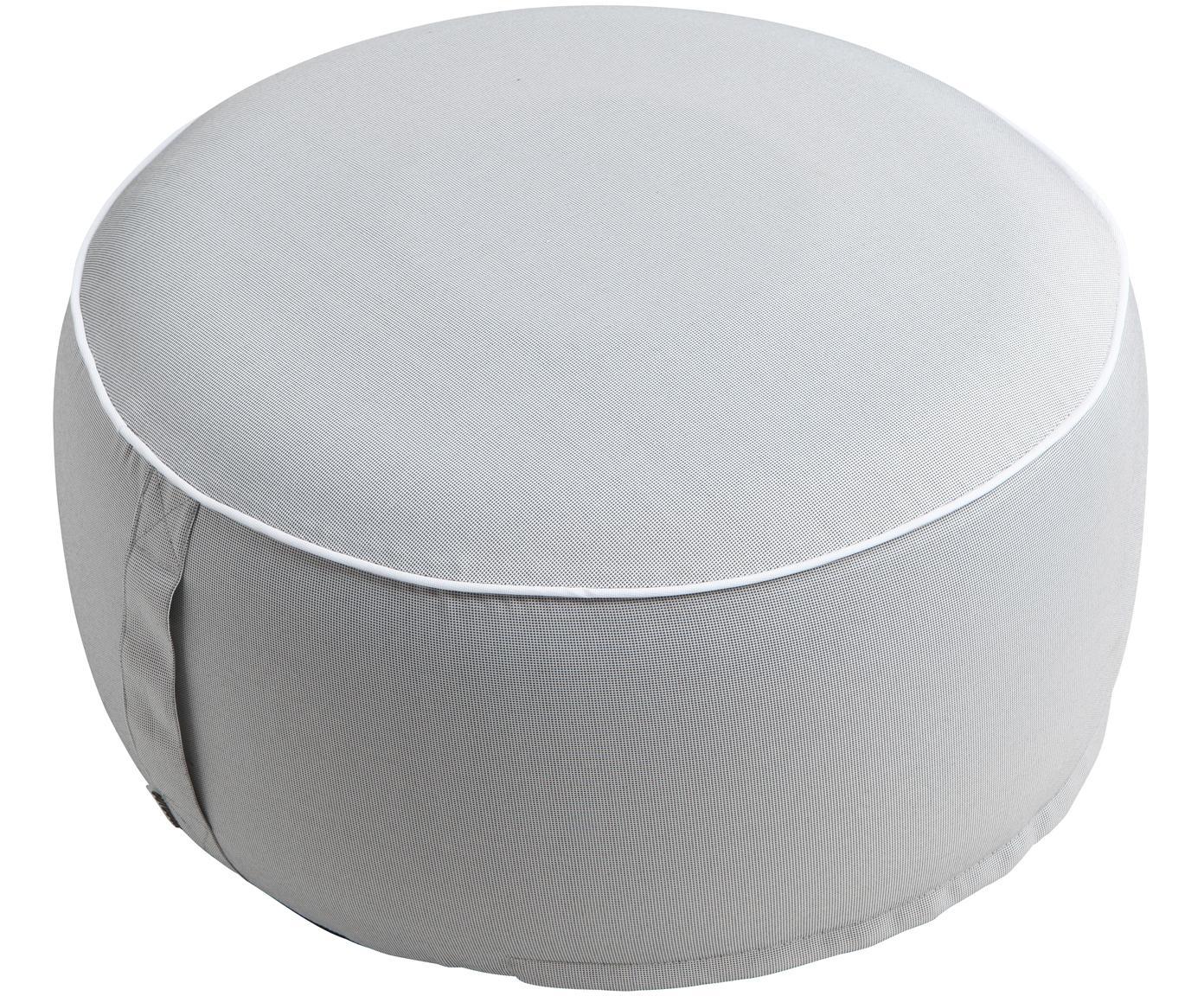 Puf de exterior Maxime, Funda: poliéster, resistente a l, Gris claro, negro, Ø 55 x Al 25 cm