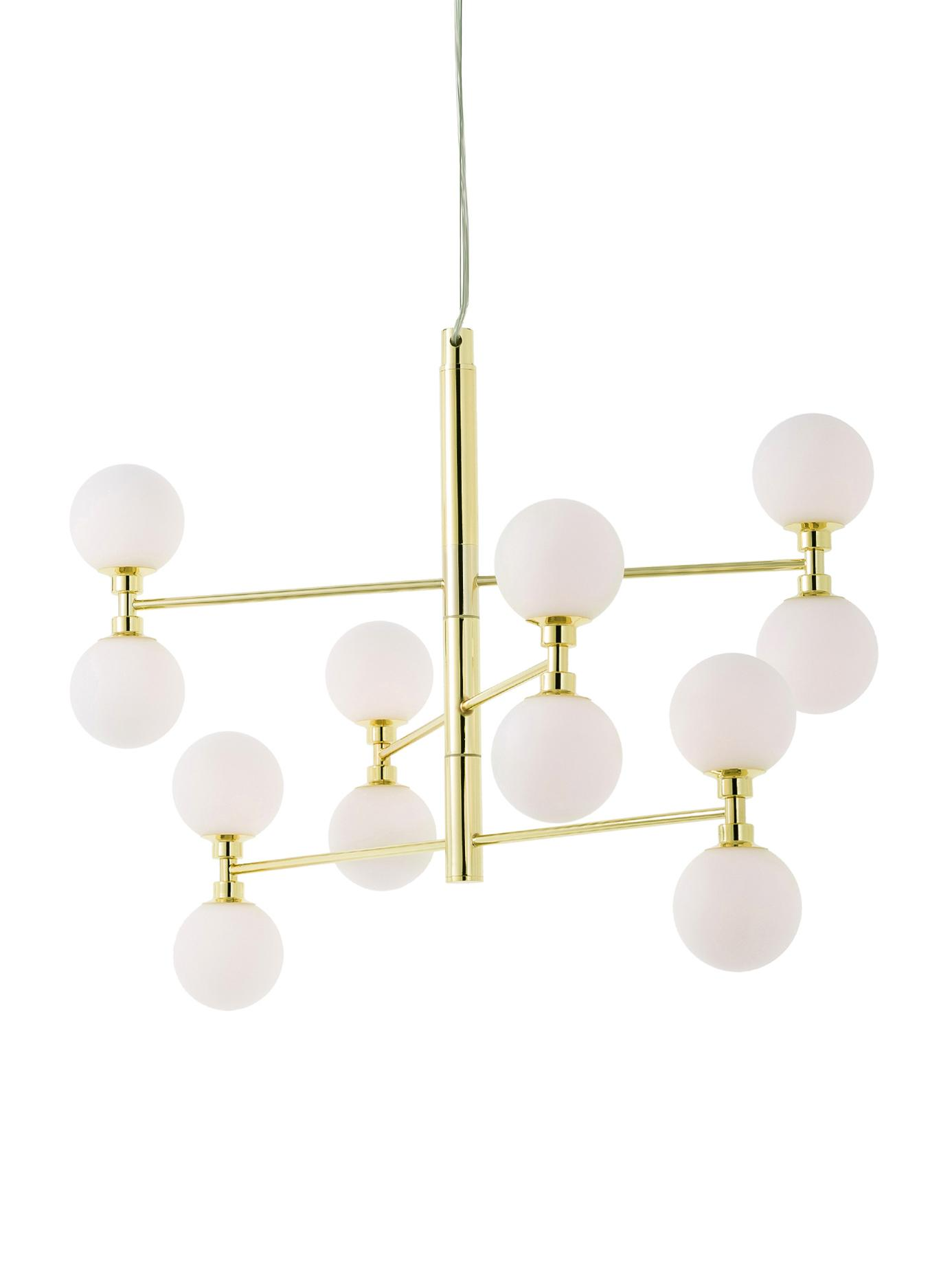 Hanglamp met glazen bollen Grover, Baldakijn: metaal, Goudkleurig, Ø 70 x H 56 cm