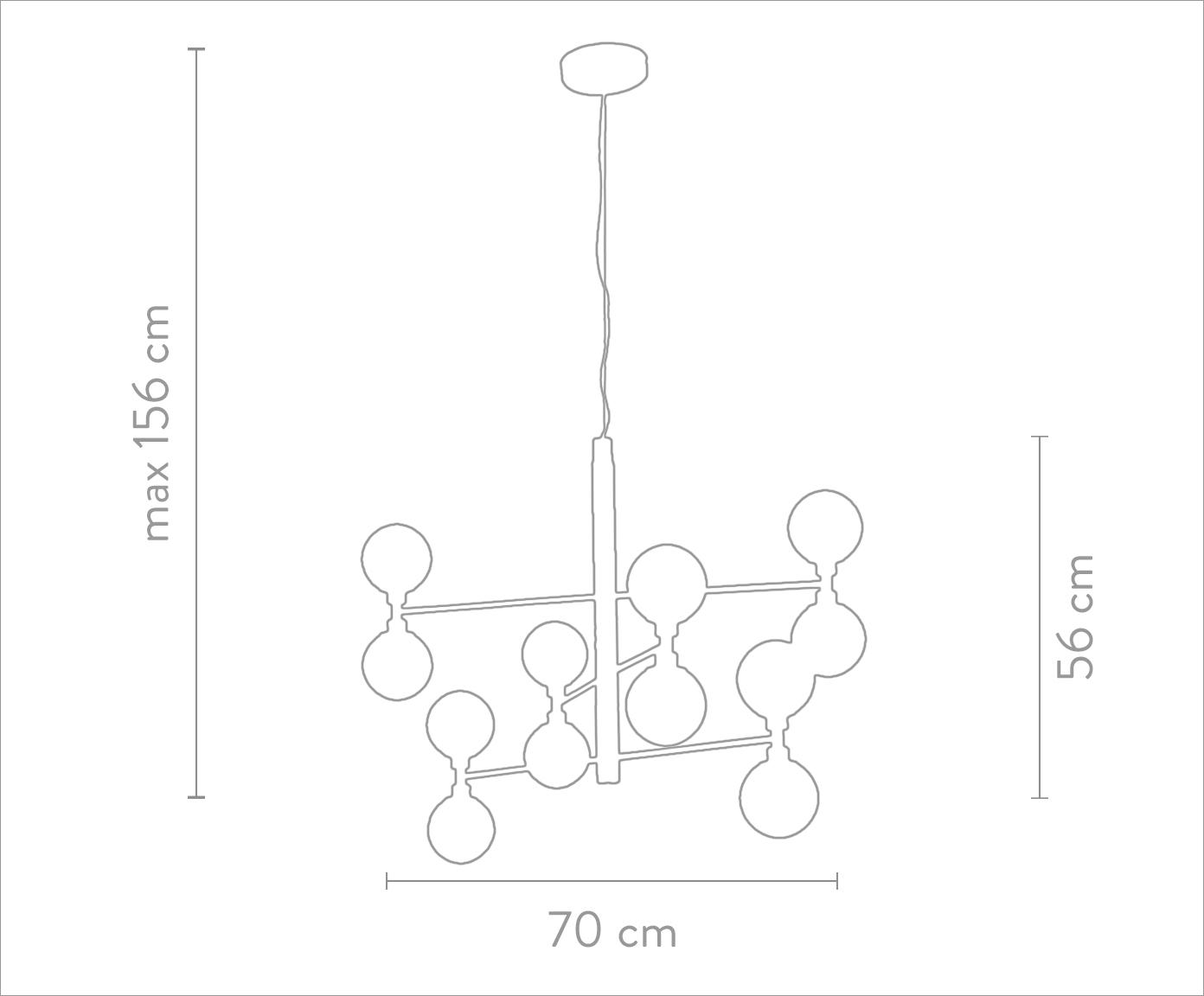 Glaskugel-Pendelleuchte Grover, Baldachin: Metall, Goldfarben, Ø 70 x H 56 cm