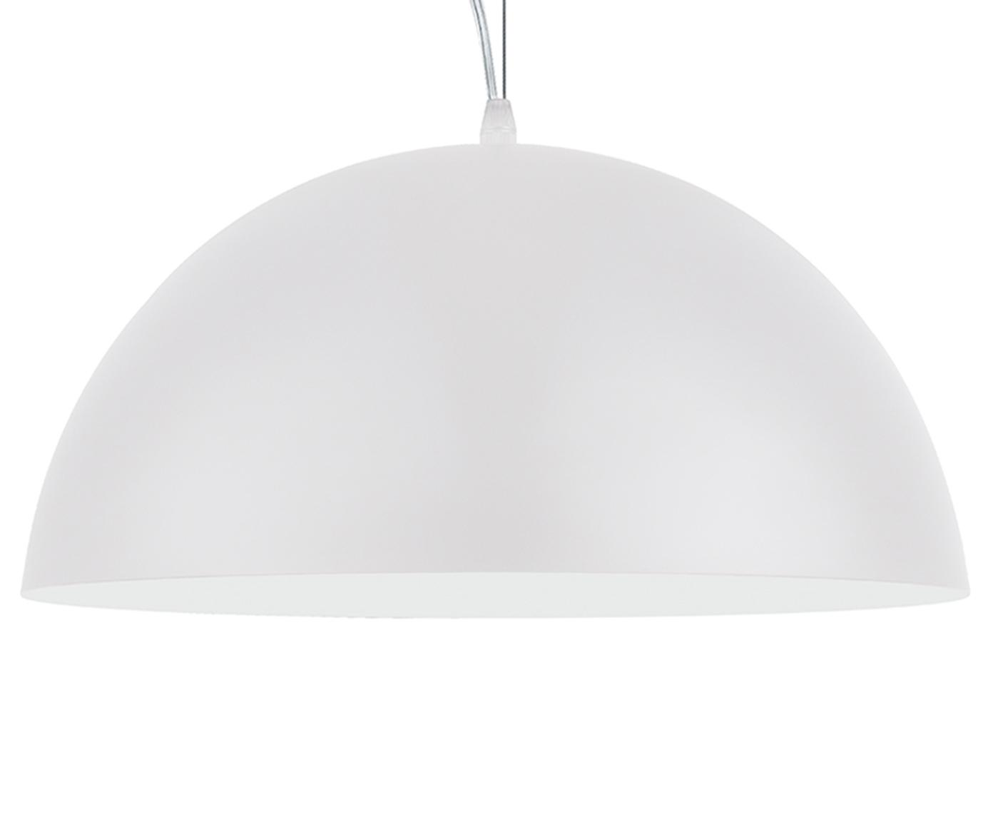 Hanglamp Brad, Baldakijn: gepoedercoat metaal, Lampenkap: gepoedercoat metaal, Wit, Ø 38 x H 18 cm