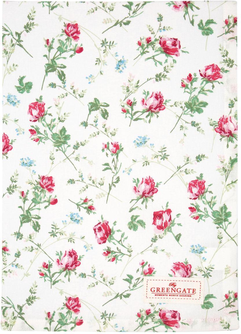 Geschirrtuch Constance mit Rosenmuster, Baumwolle, Weiß, Grün, Pink, 50 x 70 cm