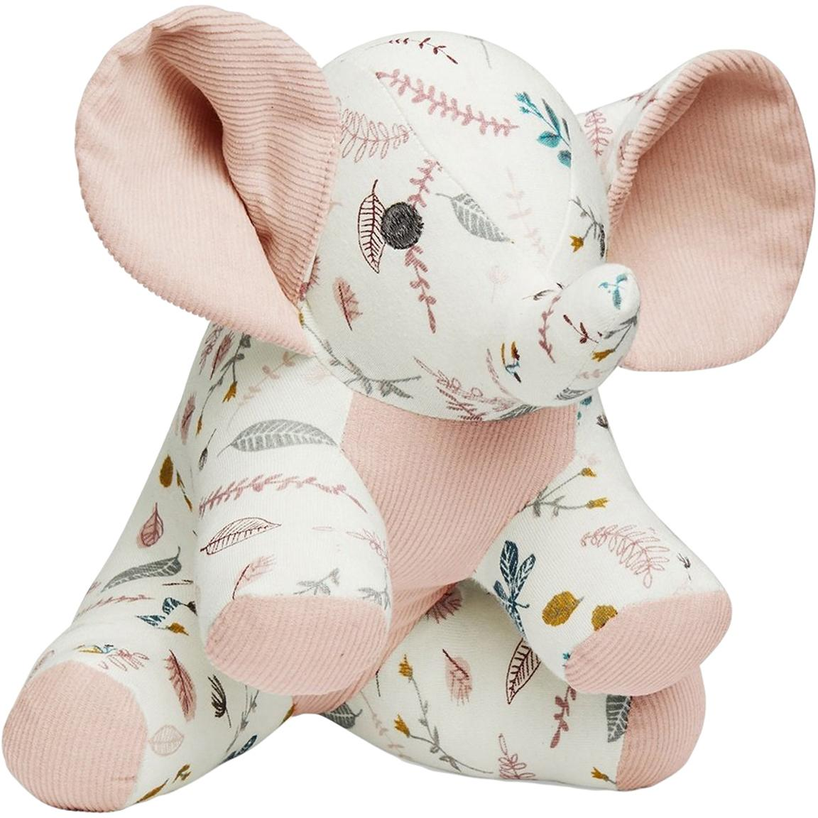 Peluche de algodón ecológico Elephant, Exterior: algodón ecológico, certif, Blanco, tonos rosas, amarillo, An 20 x Al 21 cm