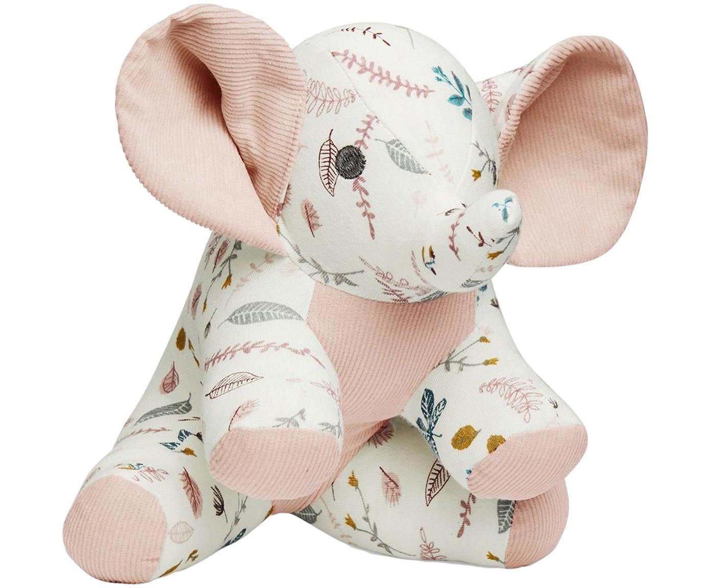 Kuscheltier Elephant aus Bio-Baumwolle, Bezug: Bio-Baumwolle, OCS-zertif, Weiss, Rosatöne, Gelb, 20 x 21 cm