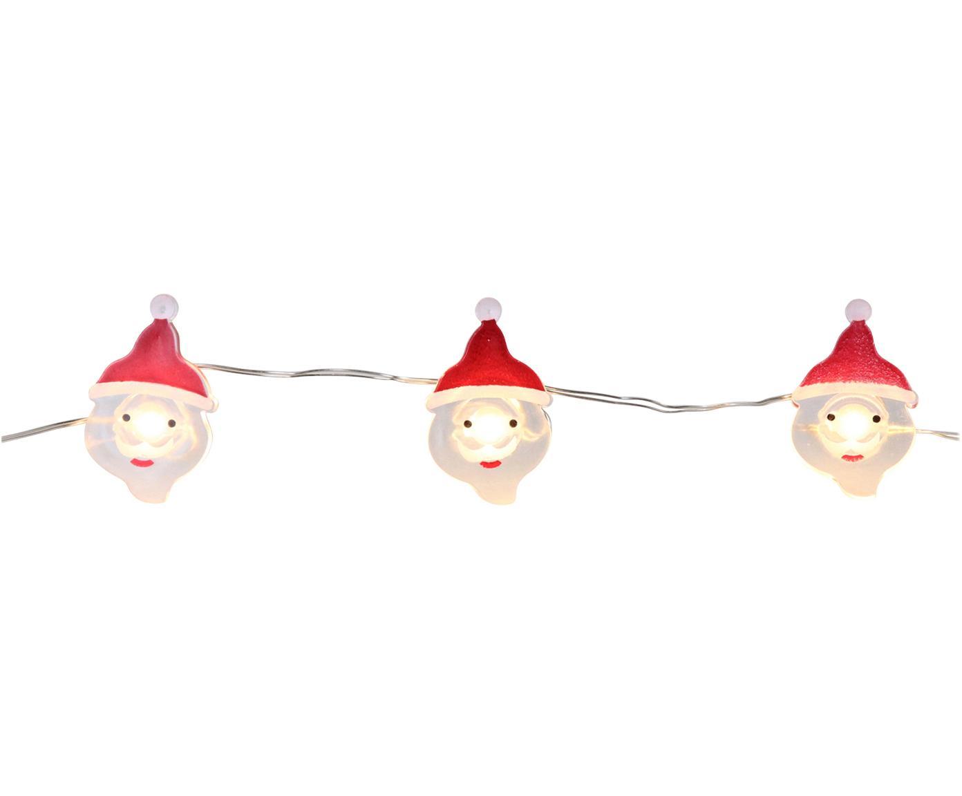 LED Lichterkette Santa Claus, Metalldraht, Acrylglas, Metall, Kunststoff, Weiß, Rot, L 220 cm