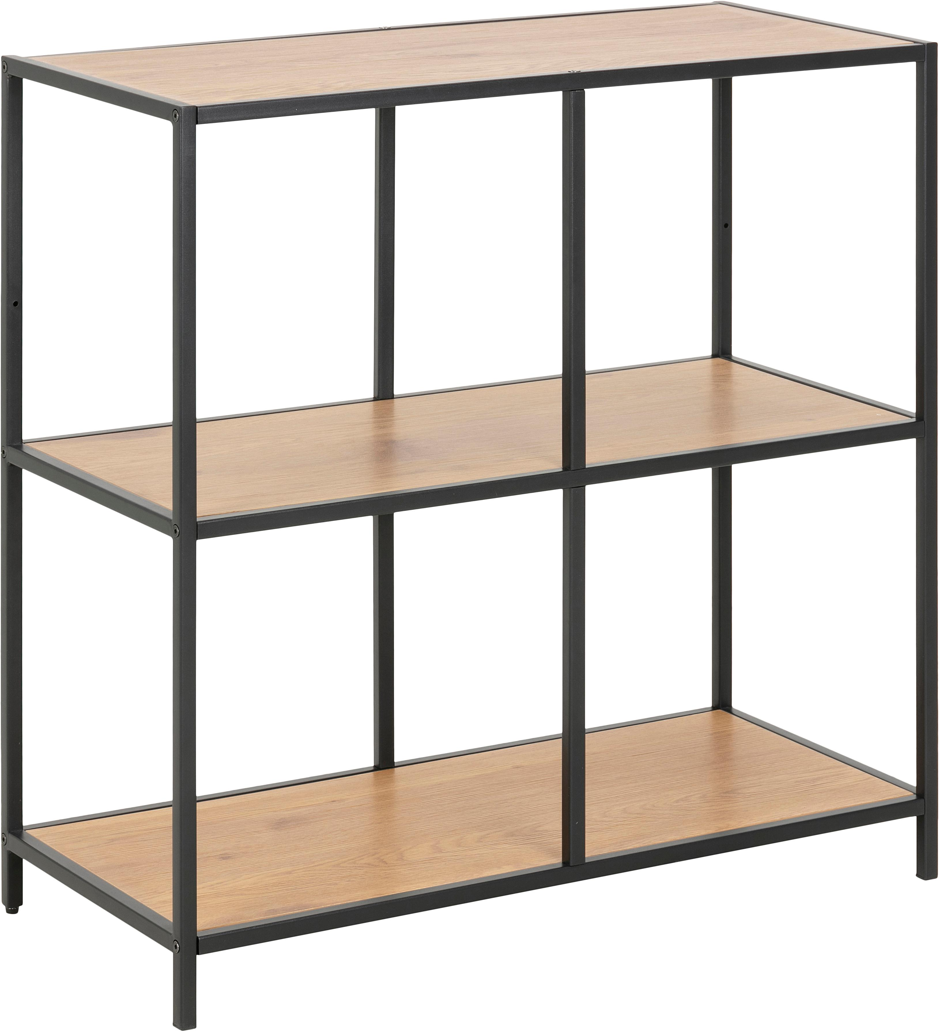 Estantería de madera y metal Seaford, Estantería: tablero de fibras de dens, Estructura: metal con pintura en polv, Marrón, An 77 x Al 78 cm