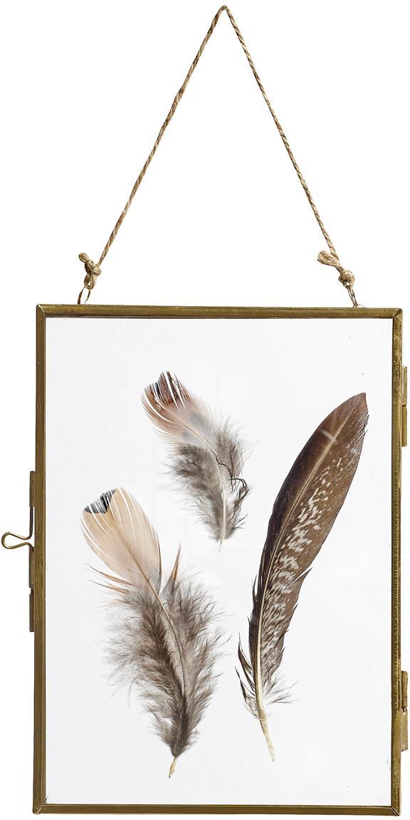 Portafoto da parete ottonato Pioros, Struttura: metallo, rivestito, Ottone, trasparente, 13 x 18 cm