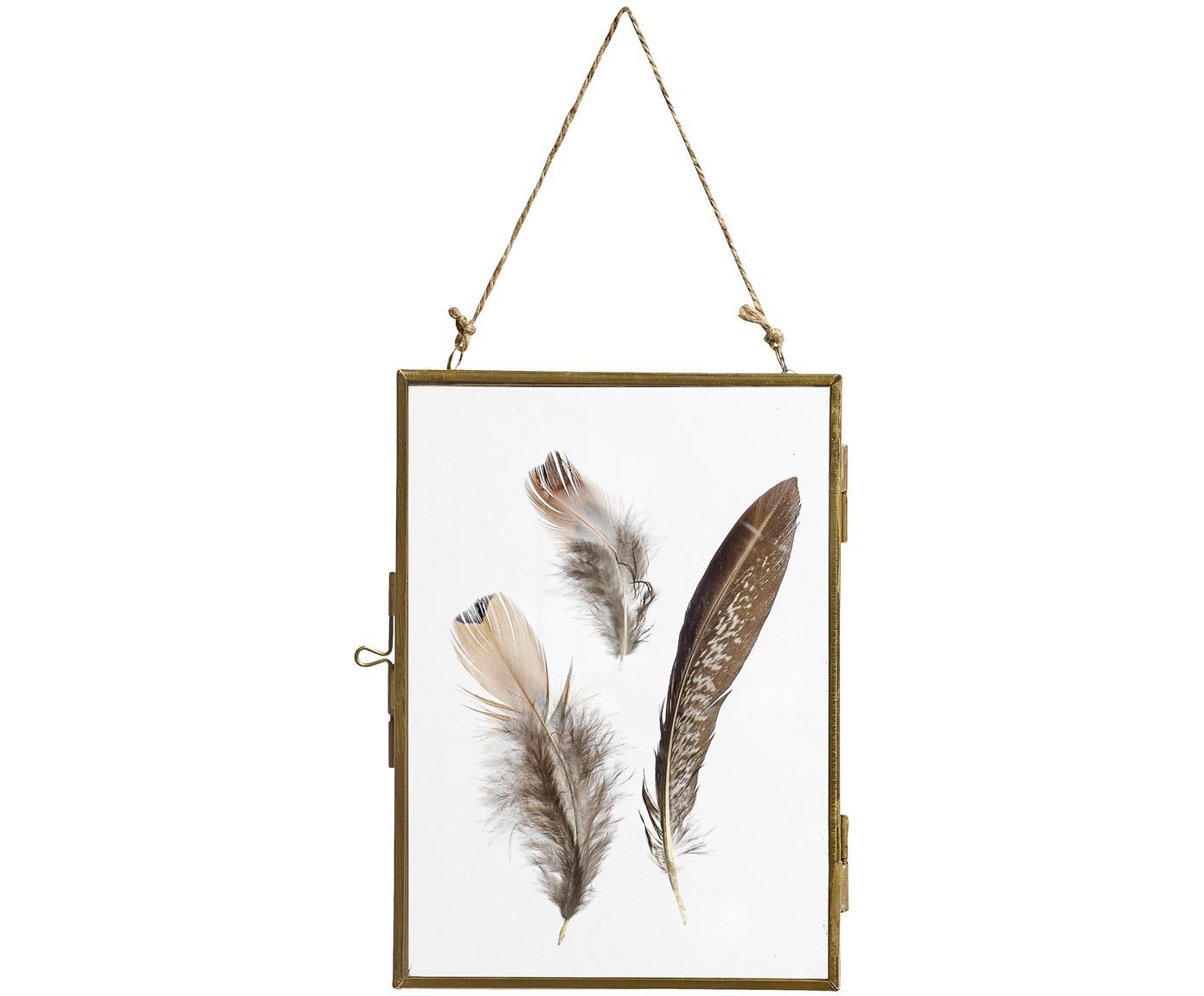 Bilderrahmen Pioros mit Federn, Rahmen: Metall, beschichtet, Front: Glas, Messingfarben, Transparent, 13 x 18 cm