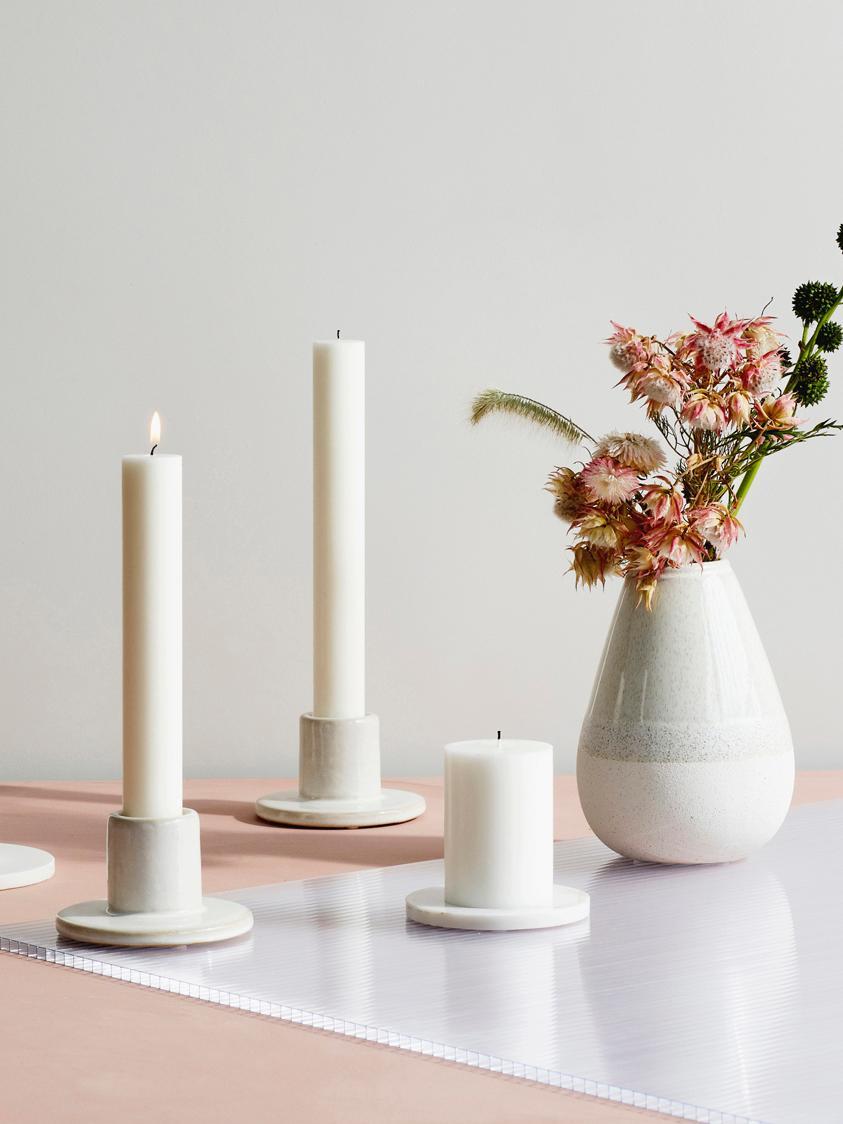 Velas candelabro Classic, 10uds., Parafina, Blanco, Ø 2 x Al 19 cm
