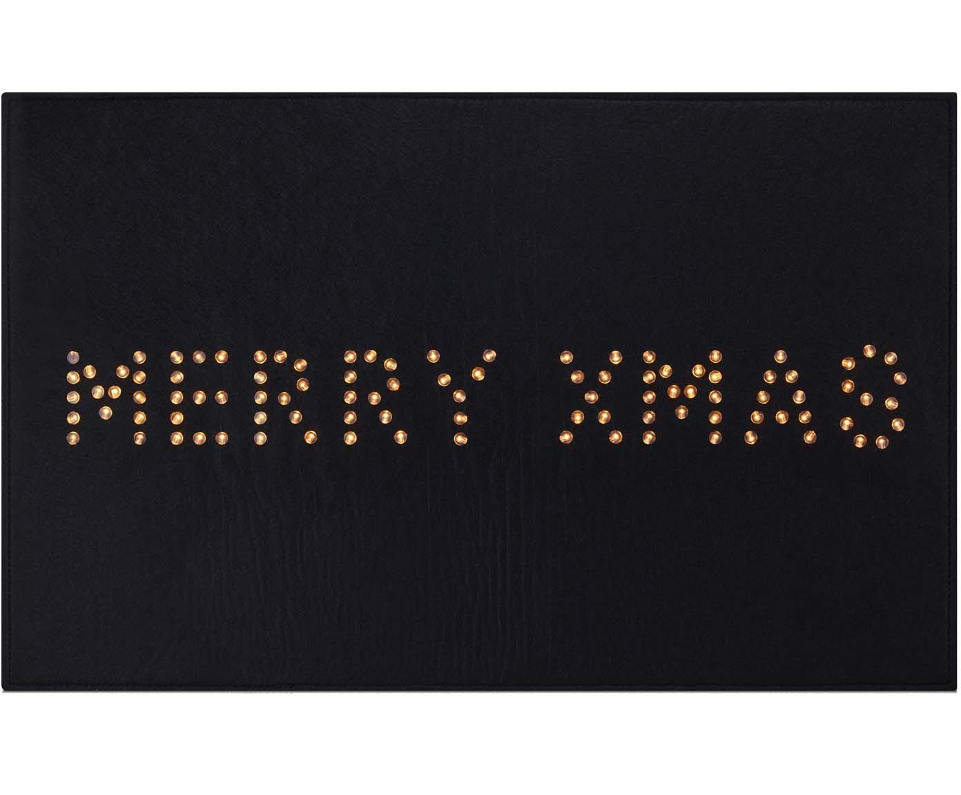 Leuchtende Fussmatte Lysa, Kunststoff, Schwarz, 80 x 50 cm