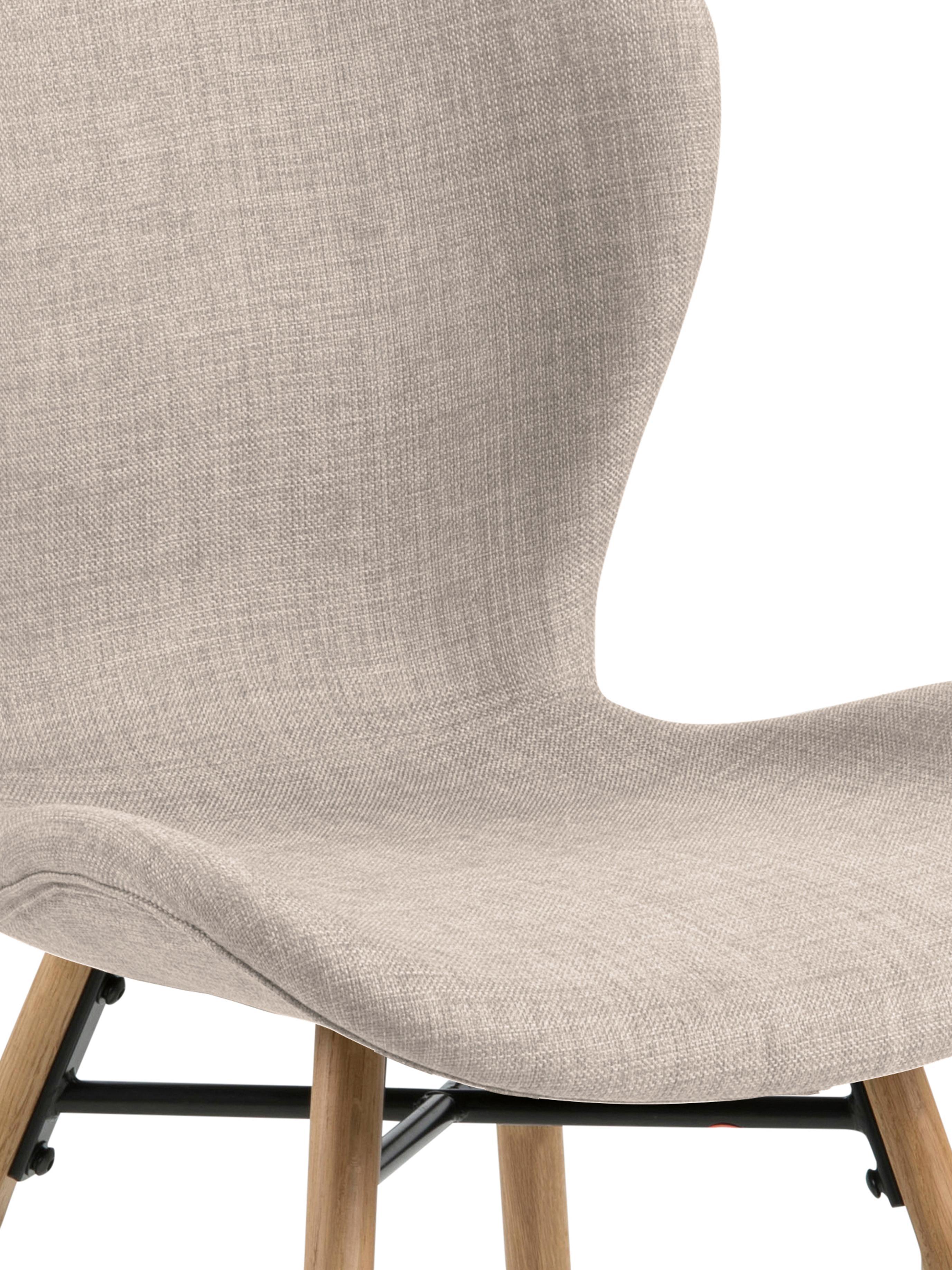 Sillas tapizadas Batilda, 2uds., estilo escandinavo, Tapizado: poliéster 25.000ciclos e, Patas: madera de roble maciza co, Tejido color arena, An 56 x Al 83 cm