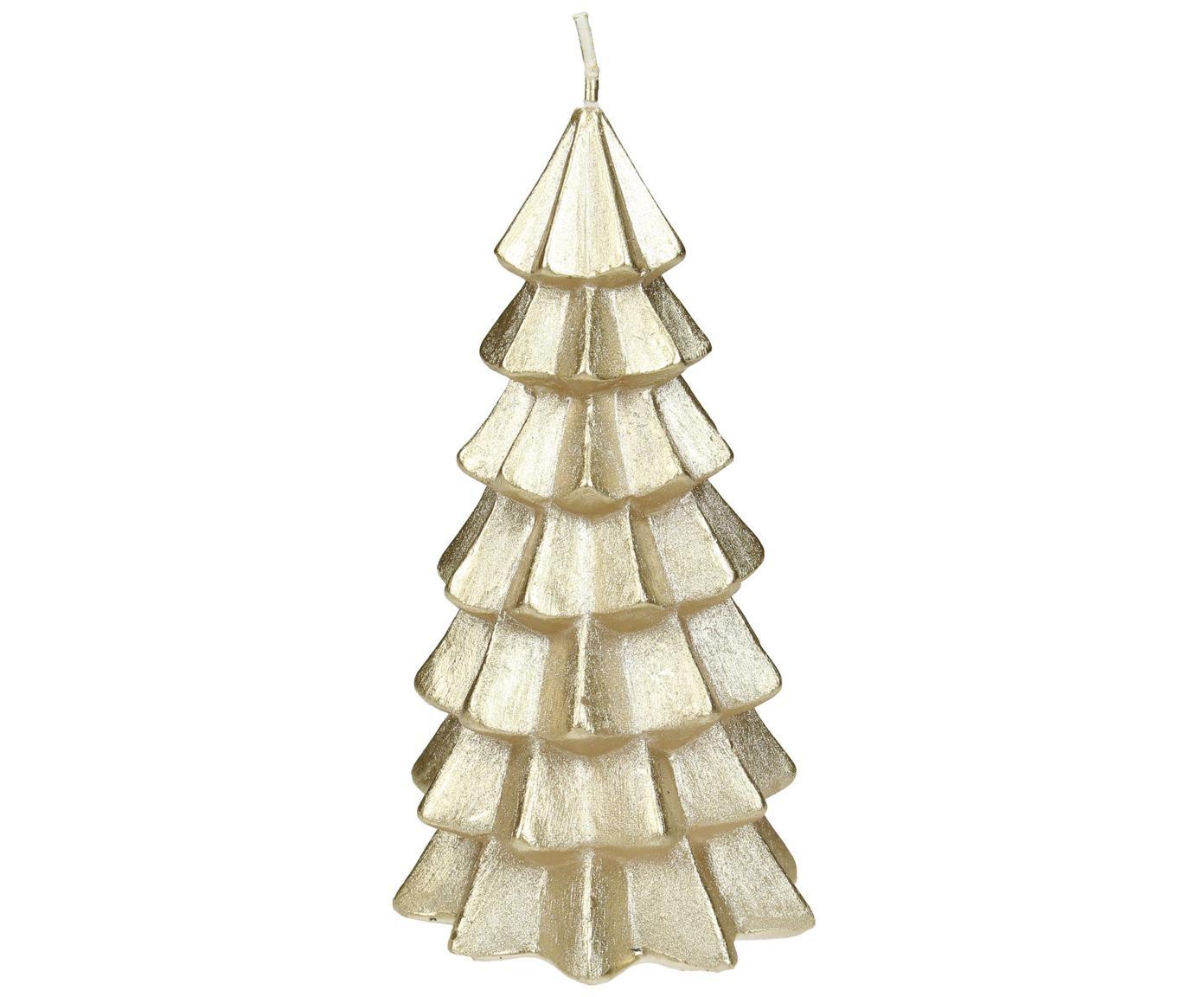 Świeca Christmas Tree, Parafina, Odcienie złotego, Ø 6 x W 12 cm
