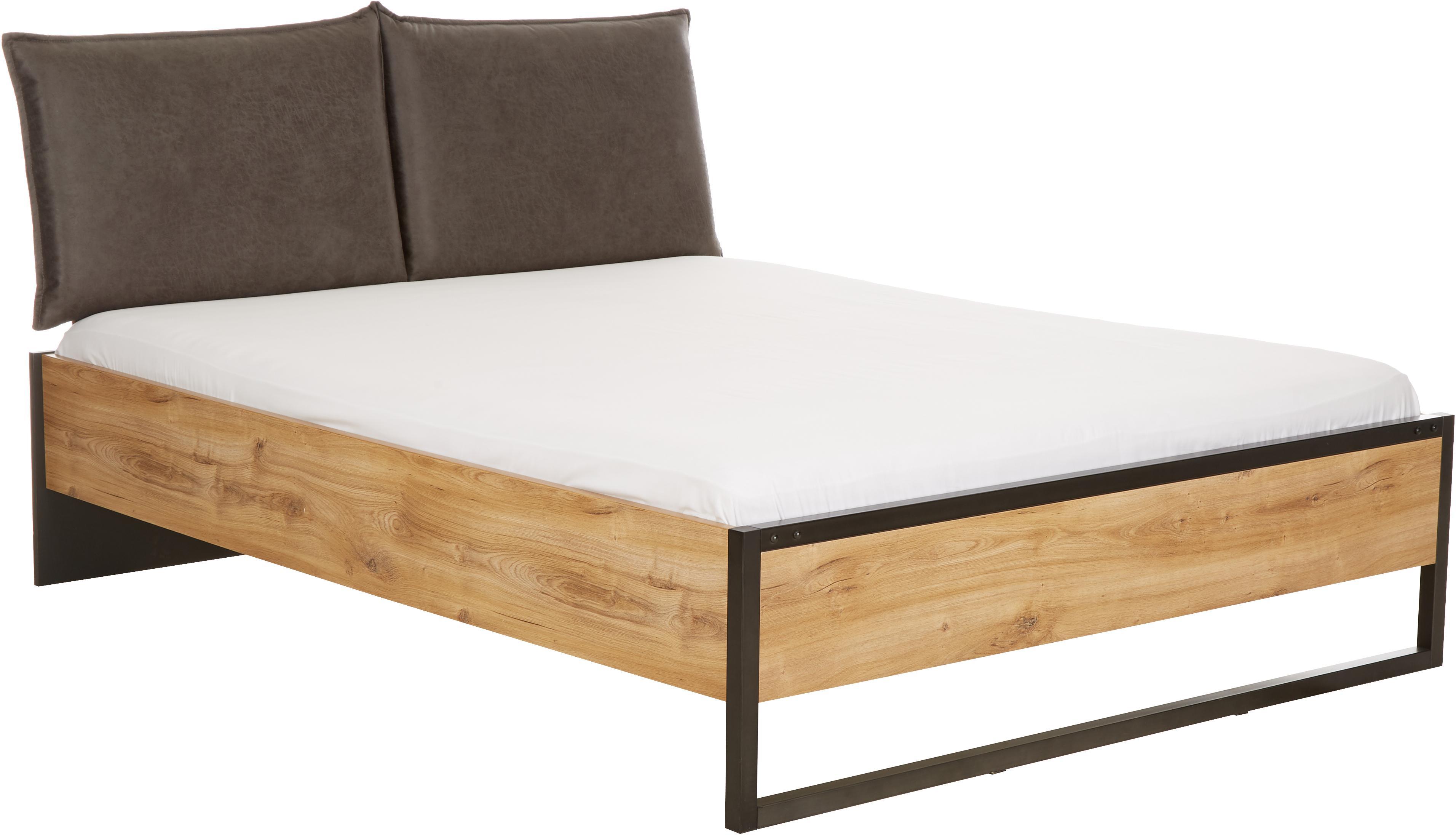 Łóżko z drewna Detroit, Stelaż: płyta pilśniowa średniej , Nogi: metal malowany proszkowo, Deska dębowa, 180 x 200 cm