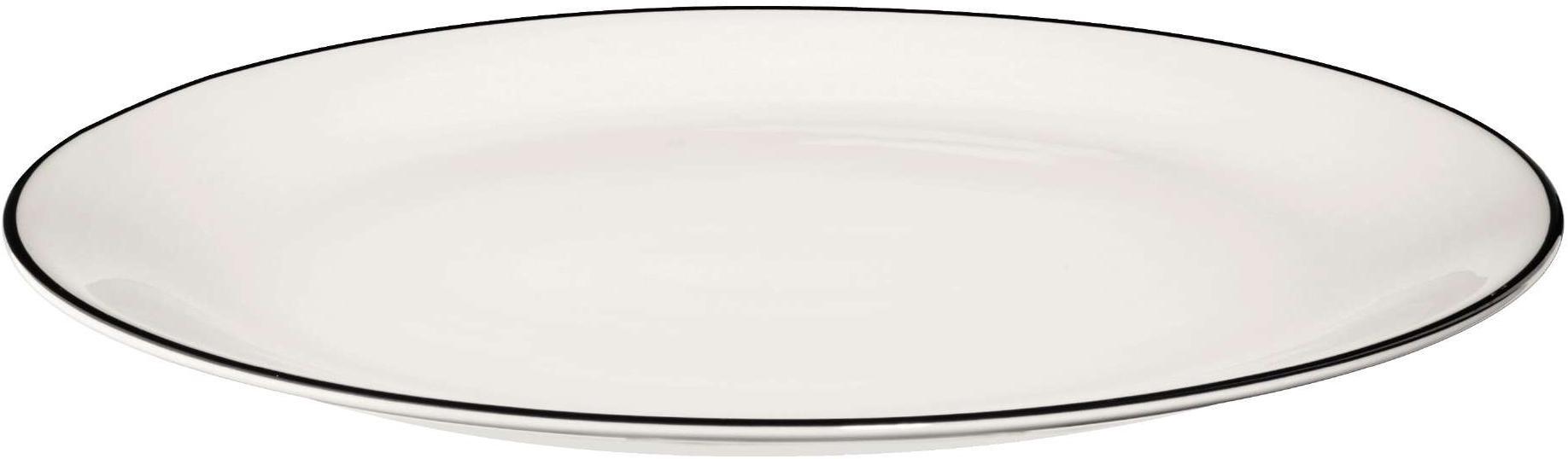 Piatto piano á table ligne noir 4 pz, Porcellana Fine Bone China, Bianco Bordo: nero, Ø 27 cm