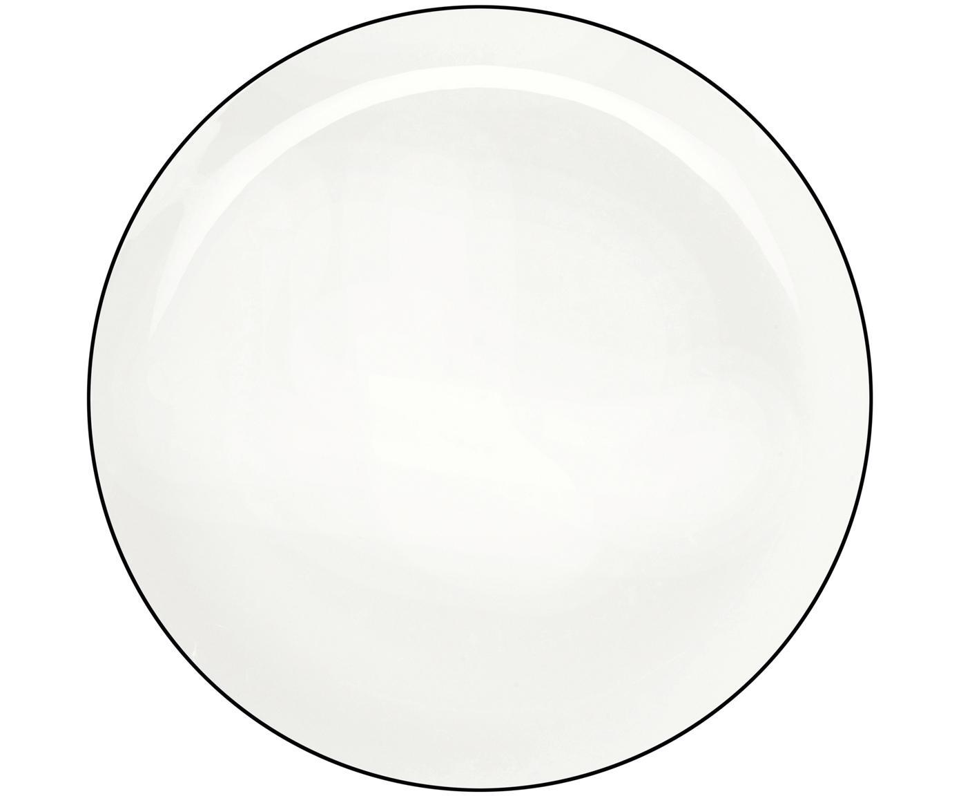 Speiseteller á table ligne noir, 4 Stück, Fine Bone China, Weiß<br>Rand: Schwarz, Ø 27 cm