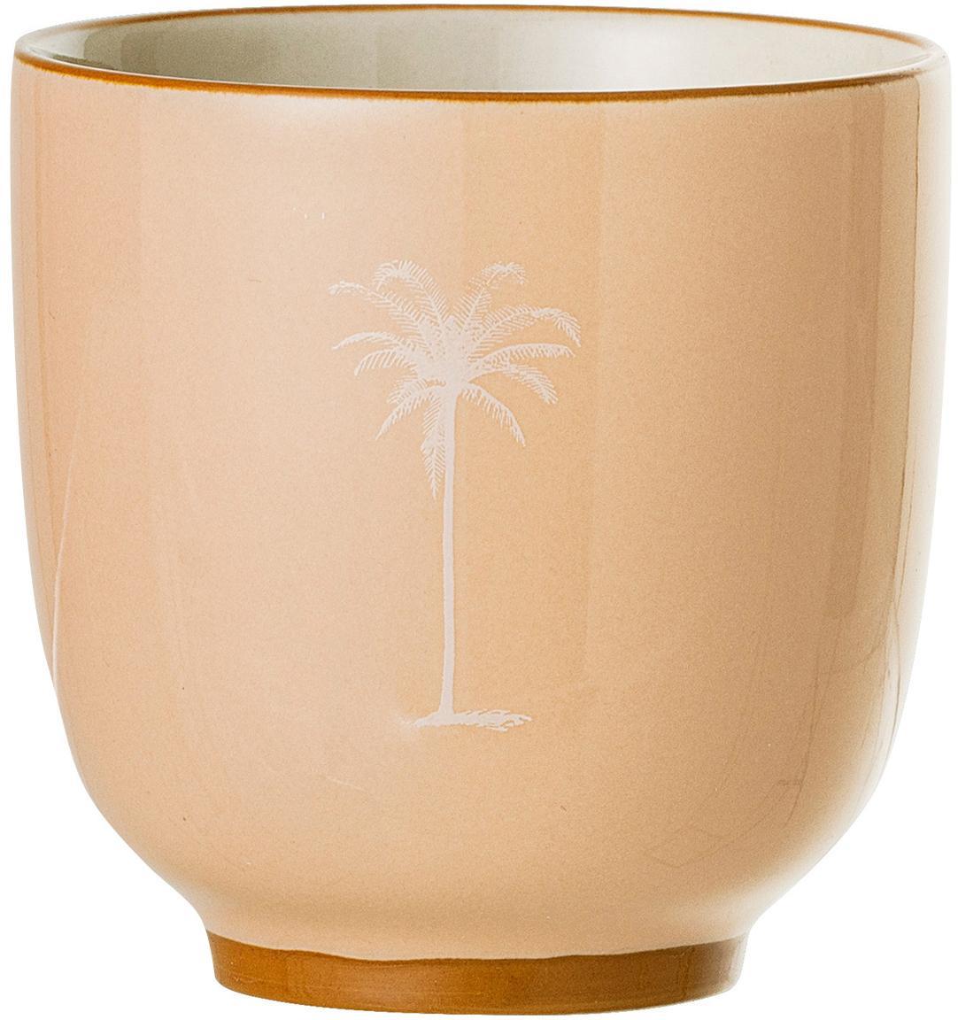 Tazza da te con motivo a palma Reese 2 pz, Ceramica, Salmone, beige chiaro, Ø 7 x Alt. 7 cm