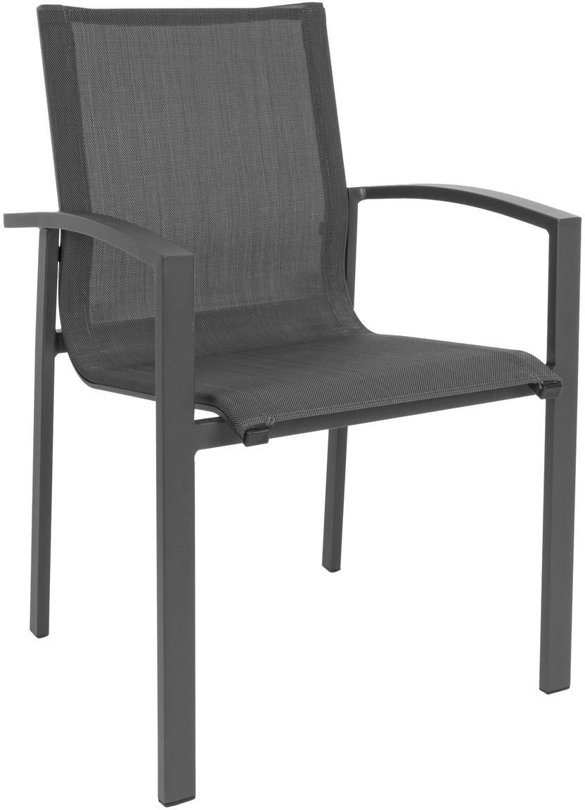 Krzesło ogrodowe z podłokietnikami do układania w stos  Atlantic, Stelaż: aluminium malowane proszk, Antracytowy, ciemny szary, S 60 x G 66 cm