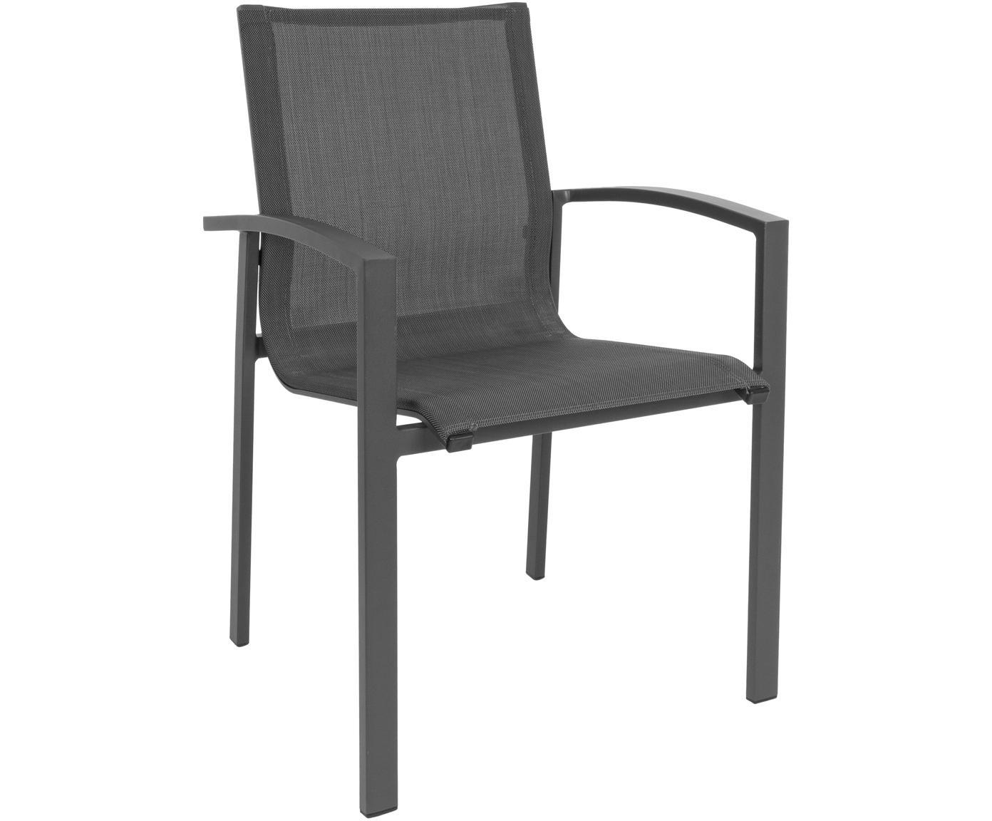 Sedia da giardino Atlantic, Struttura: alluminio verniciato a po, Seduta: textilene, Antracite, grigio scuro, Larg. 60 x Prof. 66 cm