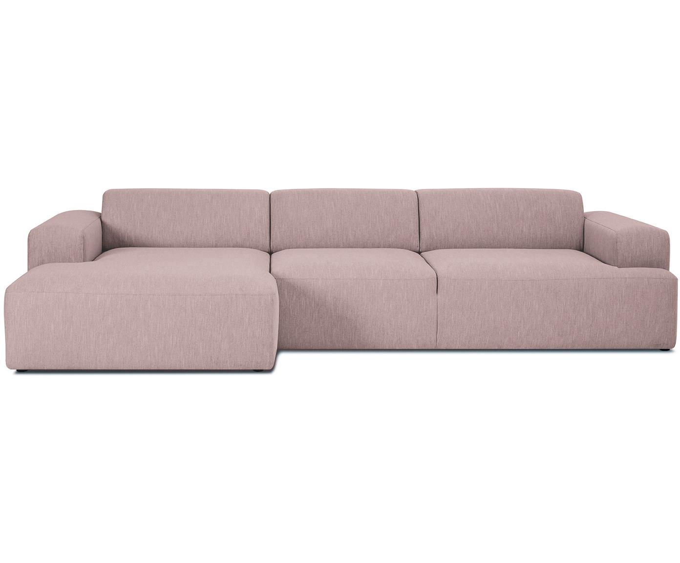 Ecksofa Melva (4-Sitzer), Bezug: Polyester 35.000 Scheuert, Gestell: Massives Kiefernholz, Spa, Füße: Kiefernholz, Webstoff Rosa, B 319 x T 144 cm