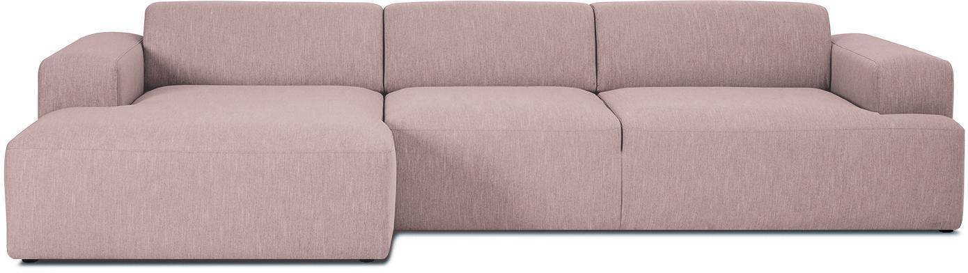 Ecksofa Melva (4-Sitzer), Bezug: Polyester Der hochwertige, Gestell: Massives Kiefernholz, Spa, Füße: Kiefernholz, Webstoff Rosa, B 319 x T 144 cm