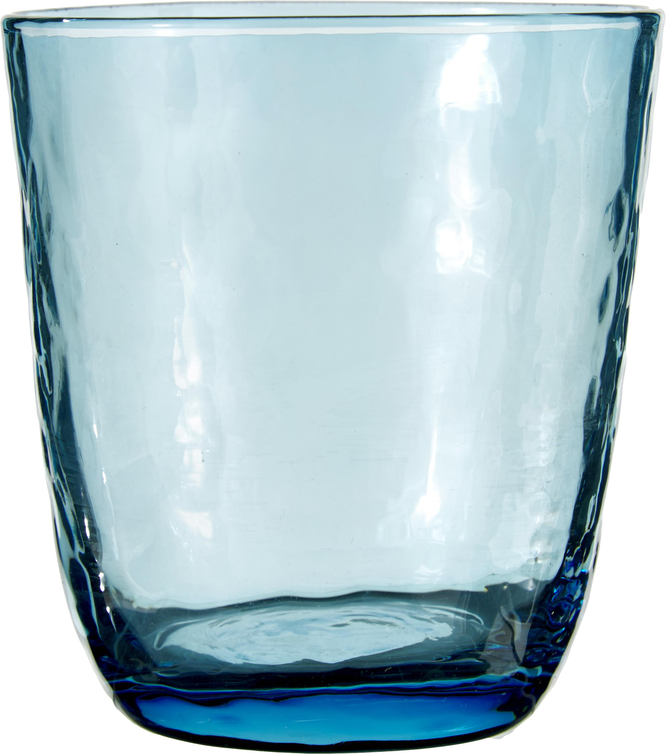 Mundgeblasene Wassergläser Hammered mit unebener Oberfläche, 4er-Set, Glas, mundgeblasen, Blau, transparent, Ø 9 x H 10 cm