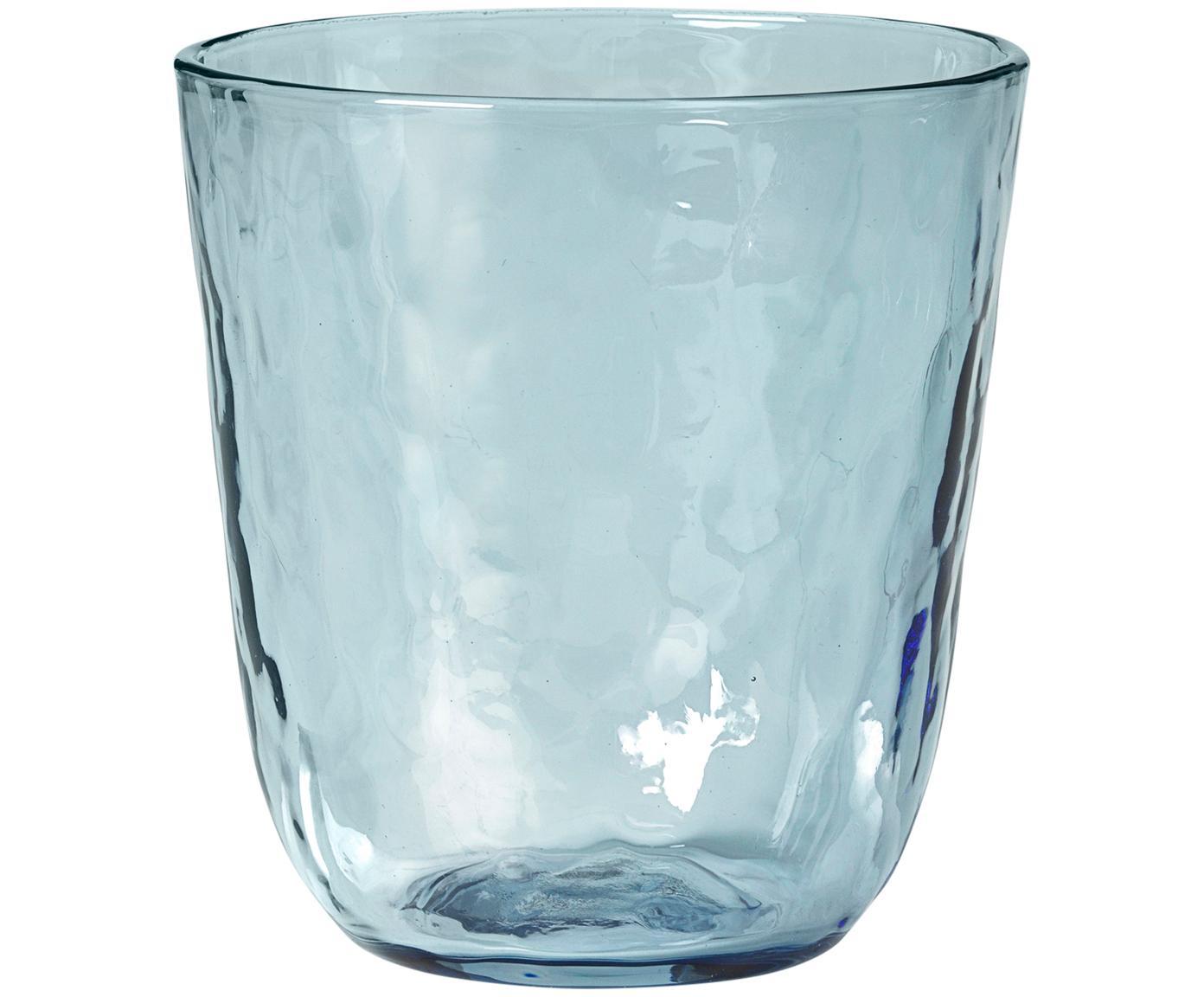 Vasos de vidrio soplado Hammered, 4uds., Vidrio soplado, Azul, transparente, Ø 9 x Al 10 cm