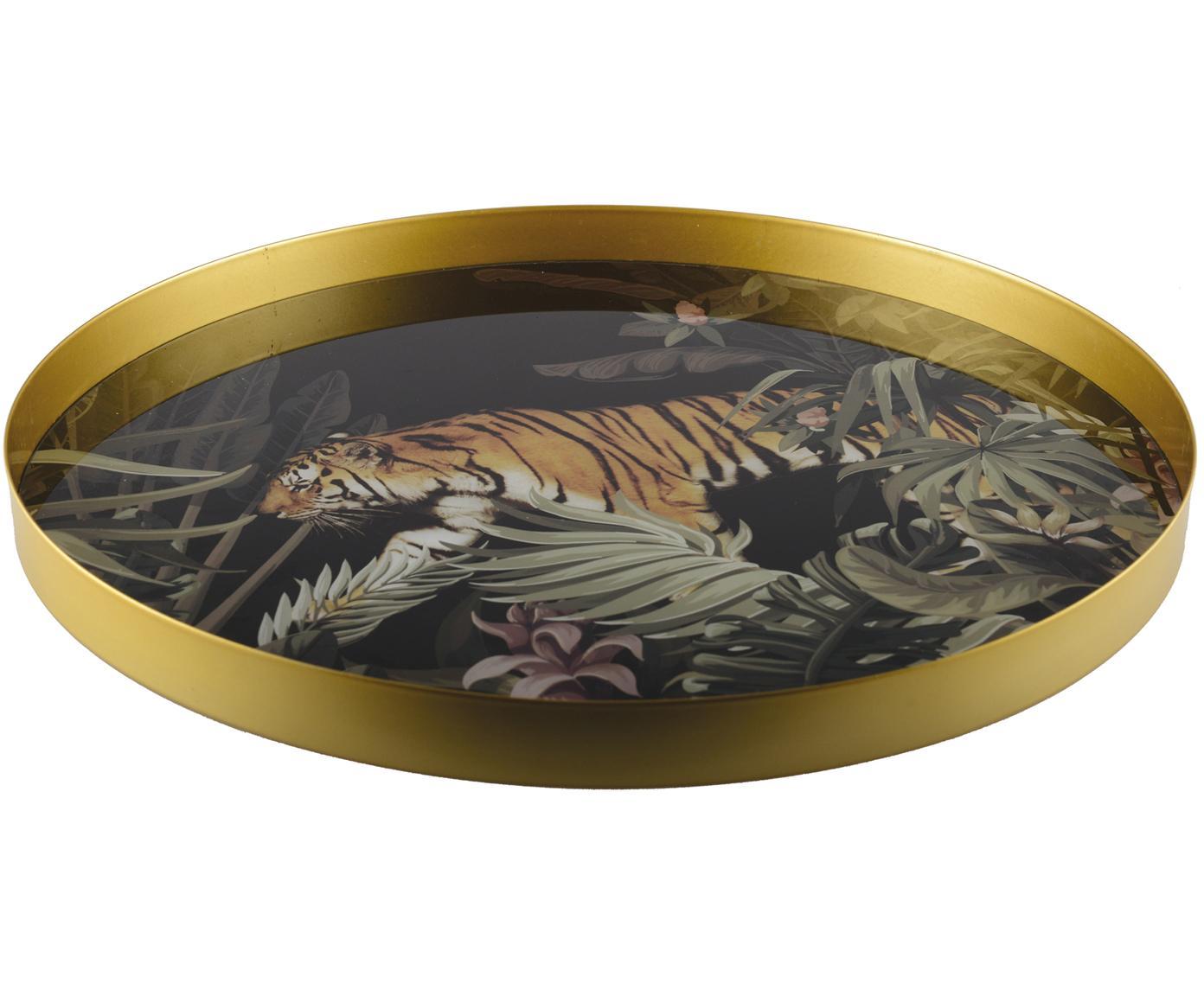 Rundes Serviertablett Tiger, Metall, beschichtet, Goldfarben, Schwarz, Grün, Braun, Weiß, Ø 40 cm