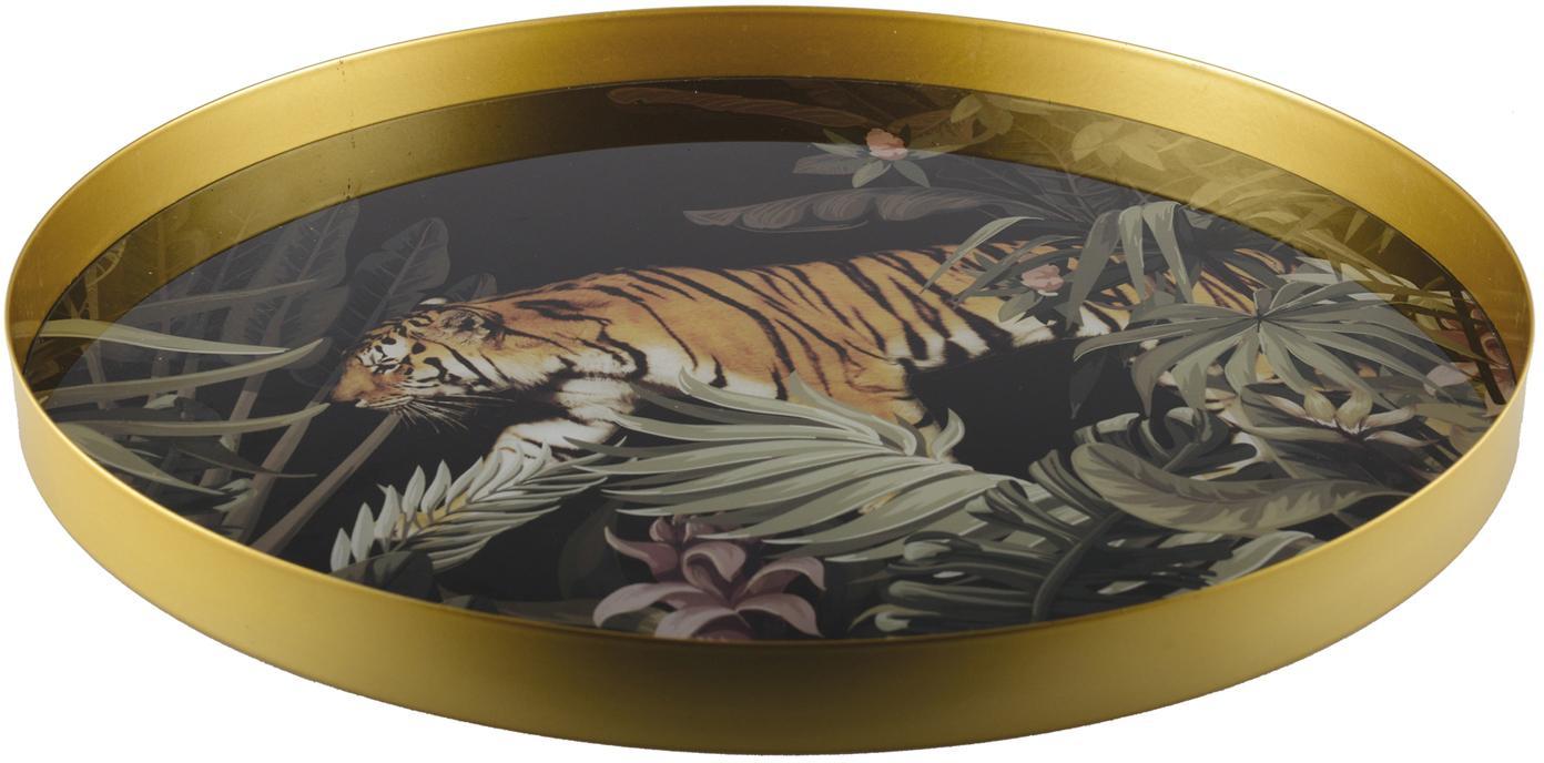 Rundes Serviertablett Tiger, Metall, beschichtet, Goldfarben, Schwarz, Grün, Braun, Weiss, Ø 40 cm