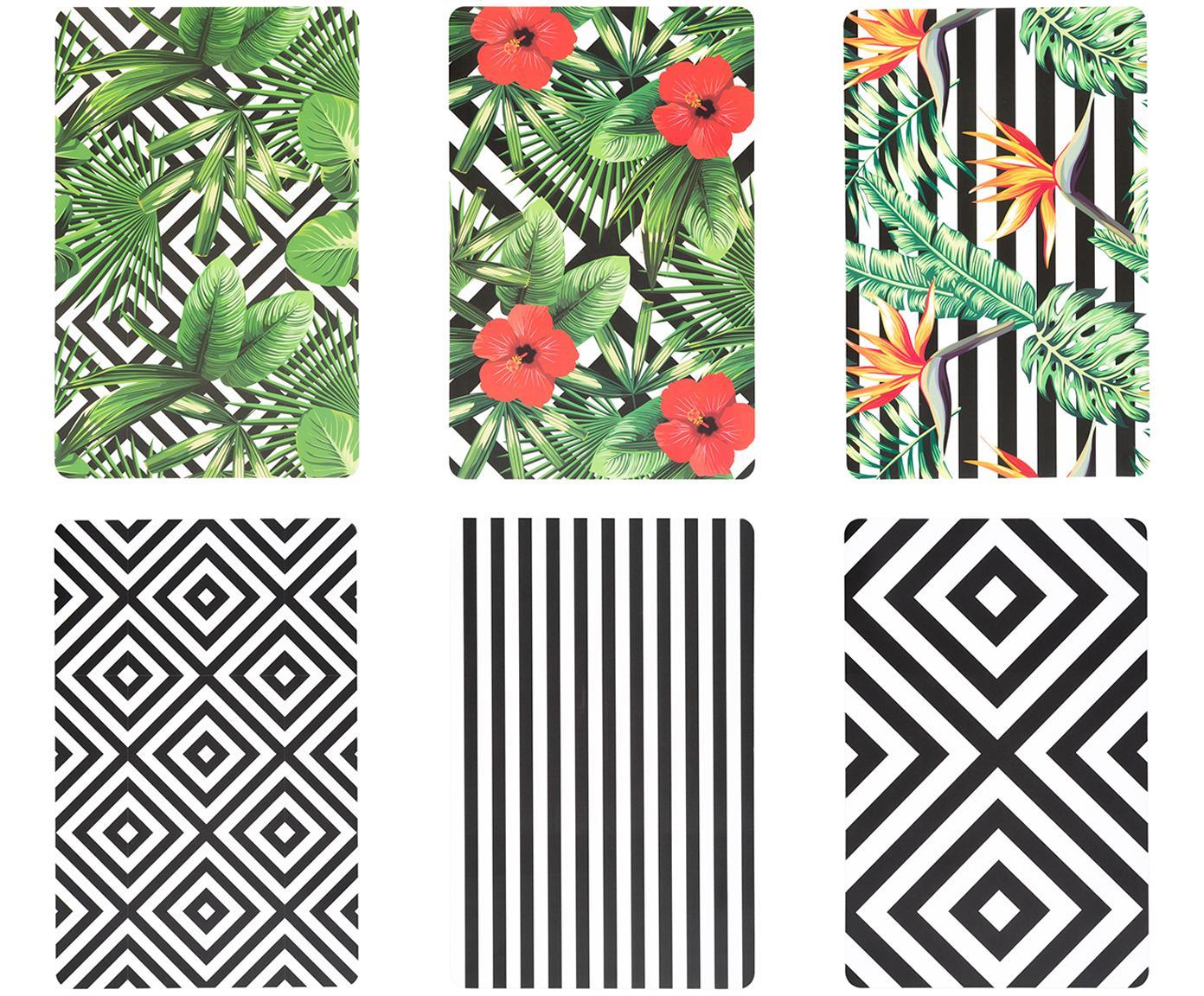 Kunststoff-Tischsets Tropicana, 6er Set, Kunststoff, Schwarz, Weiß, Grün, Rot, Gelb, 30 x 45 cm