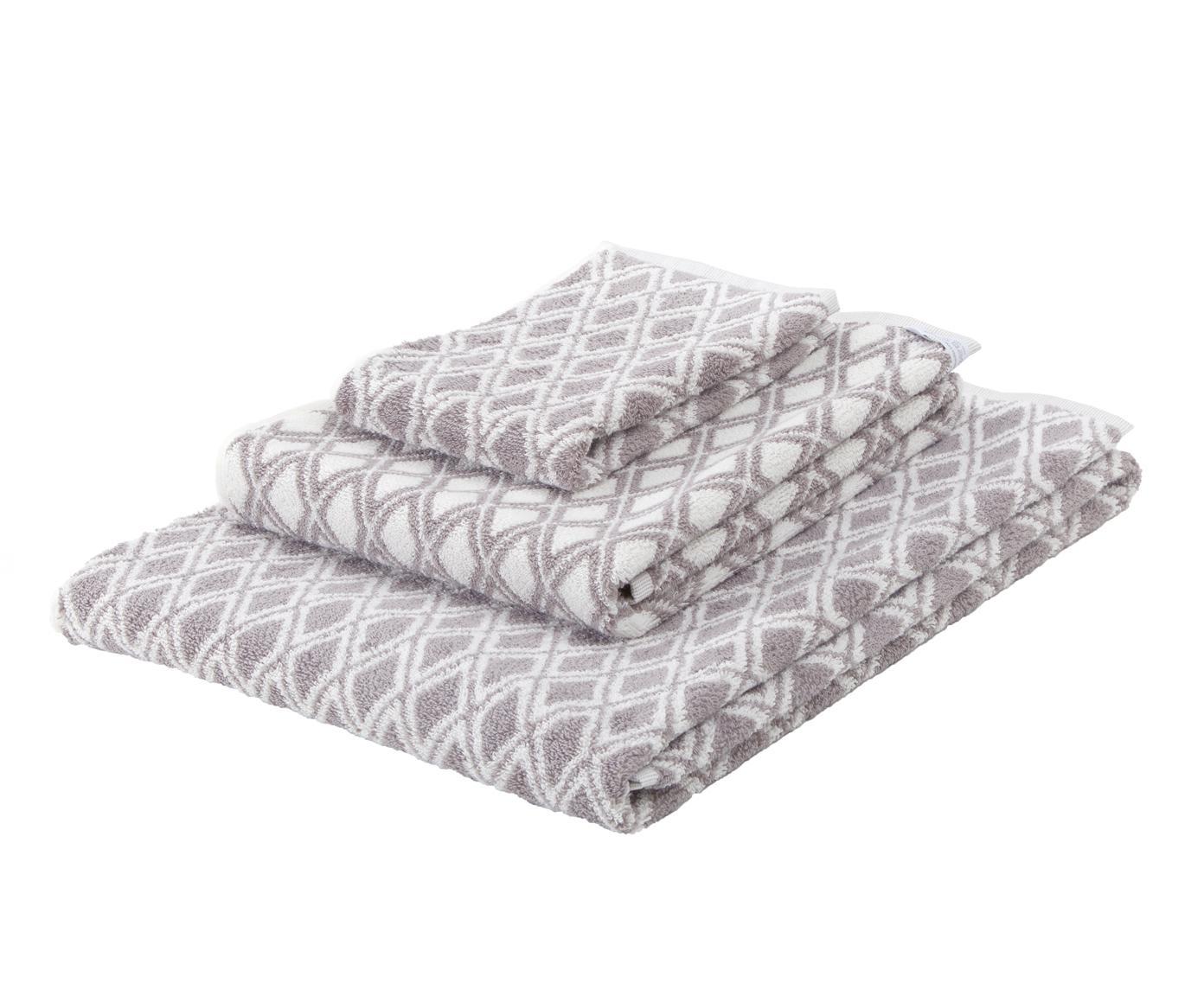Dubbelzijdige handdoek-set Ava met grafisch patroon, 3-delig, Taupe, crèmewit, Set met verschillende formaten
