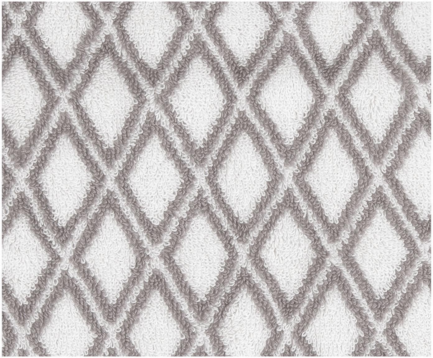 Set asciugamani reversibili Ava 3 pz, Grigio, bianco crema, Diverse dimensioni