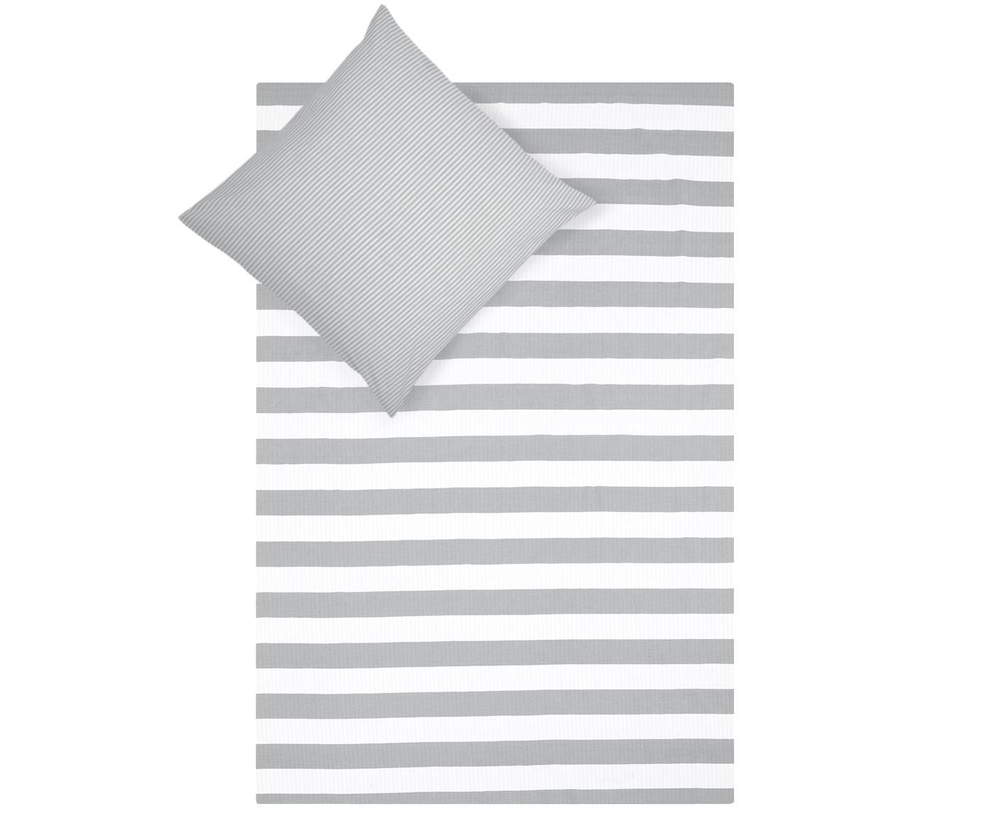 Dwustronna pościel z bawełny renforcé Lorena, Biały, jasny szary, 135 x 200 cm