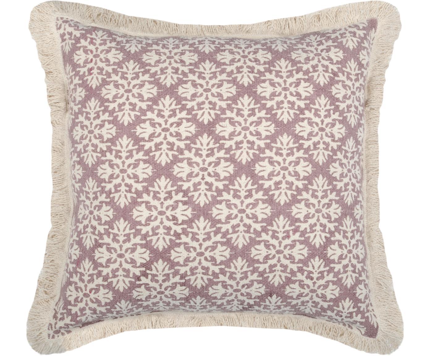 Gemustertes Kissen Blush, mit Inlett, 100% Baumwolle, Mauve, Gebrochenes Weiss, 40 x 40 cm