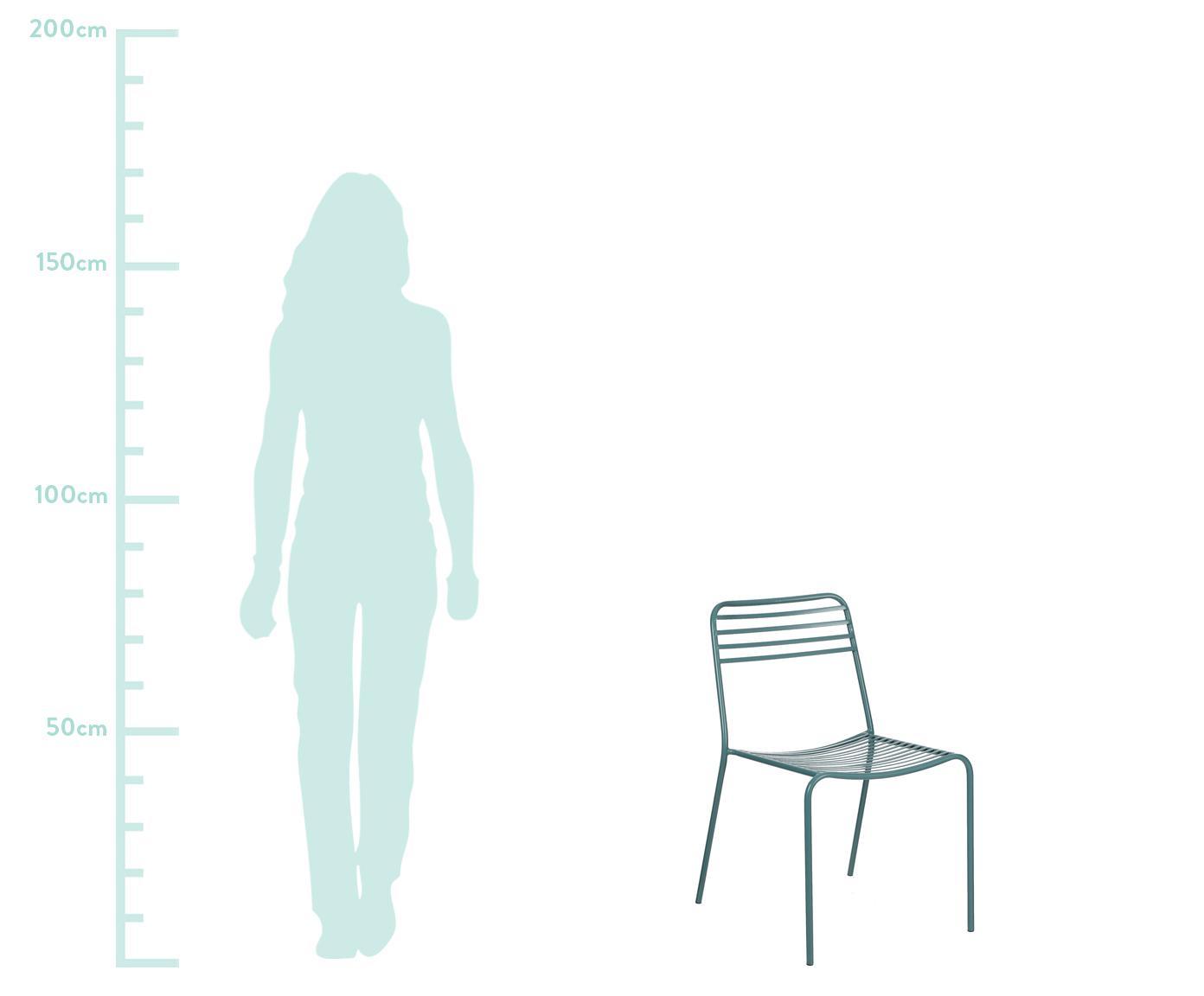 Metalen stoelen Tula, 2 stuks, Gepoedercoat metaal, Groen, B 48 x D 54 cm
