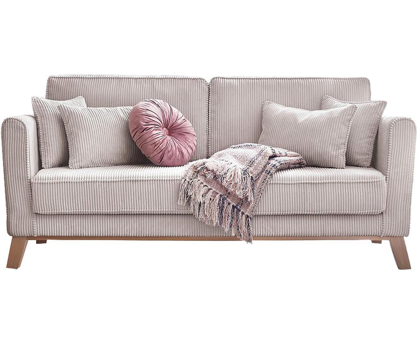 Sofá Doblo (3plazas), Tapizado: terciopelo de algodón, Patas: madera, Beige , An 186 x F 85 cm