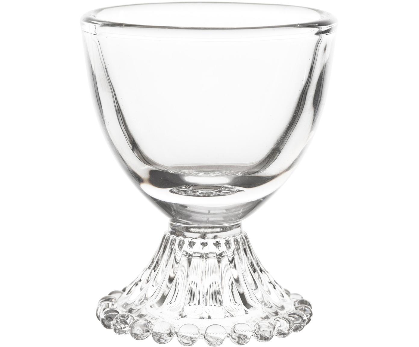 Eierdopjes Perles, 6 stuks, Glas, Transparant, Ø 6 cm