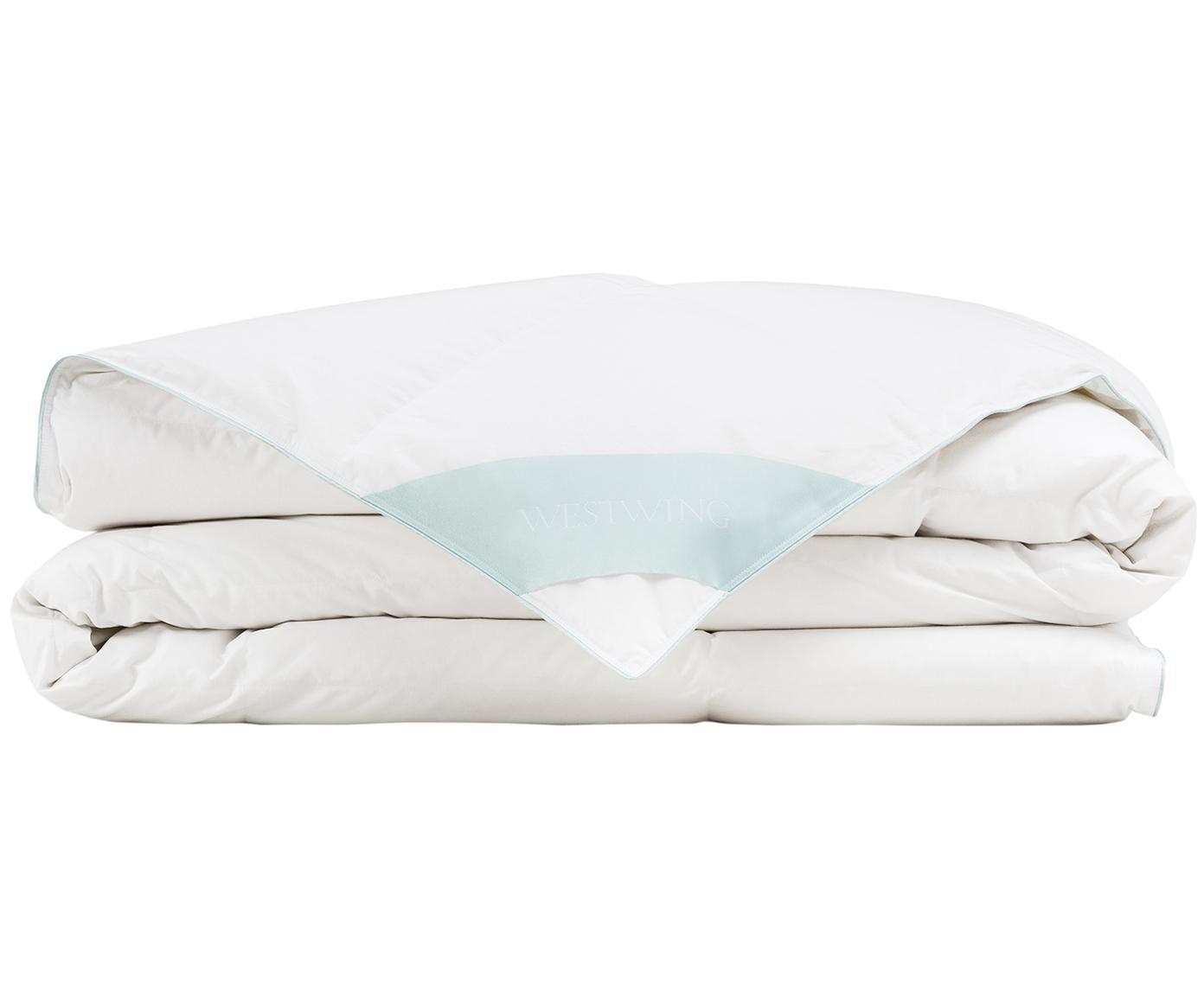 Reine Daunen-Bettdecke Premium, leicht, Hülle: 100% Baumwolle, feine Mak, Weiß, 155 x 220 cm