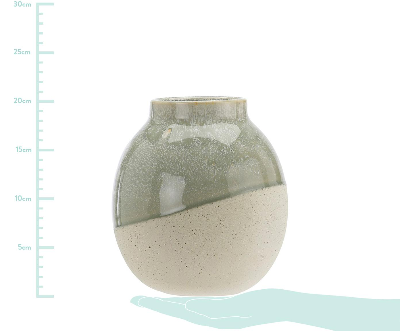 Vase Skraa aus Steingut, Steingut, Grün, Beige, Ø 18 x H 20 cm