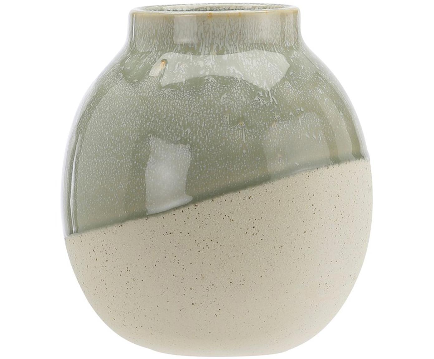 Vaas Skraa van keramiek, Keramiek, Groen, beige, Ø 18 x H 20 cm