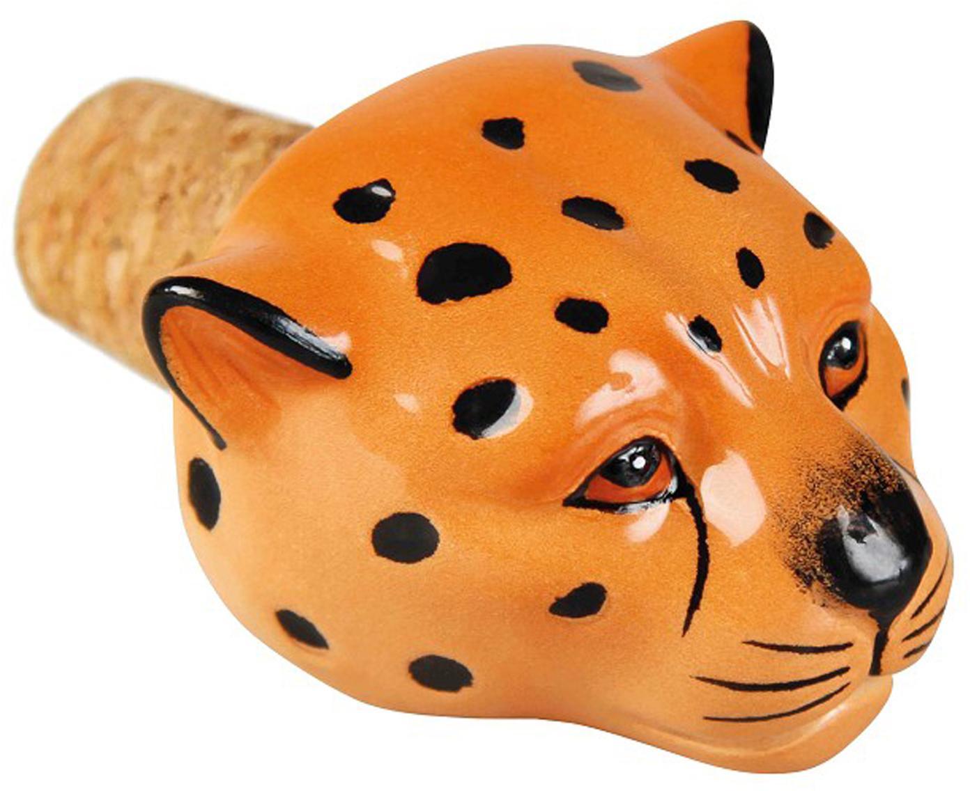 Flaschenverschluss Leopard, Keramik, Kork, Orange, Schwarz, 5 x 5 cm